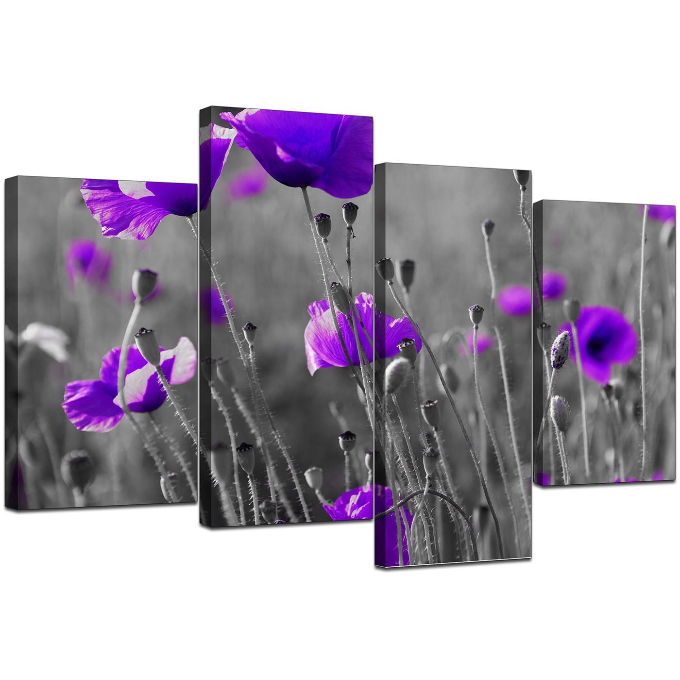 Set of 4 extra large purple canvas art display gallery item 1