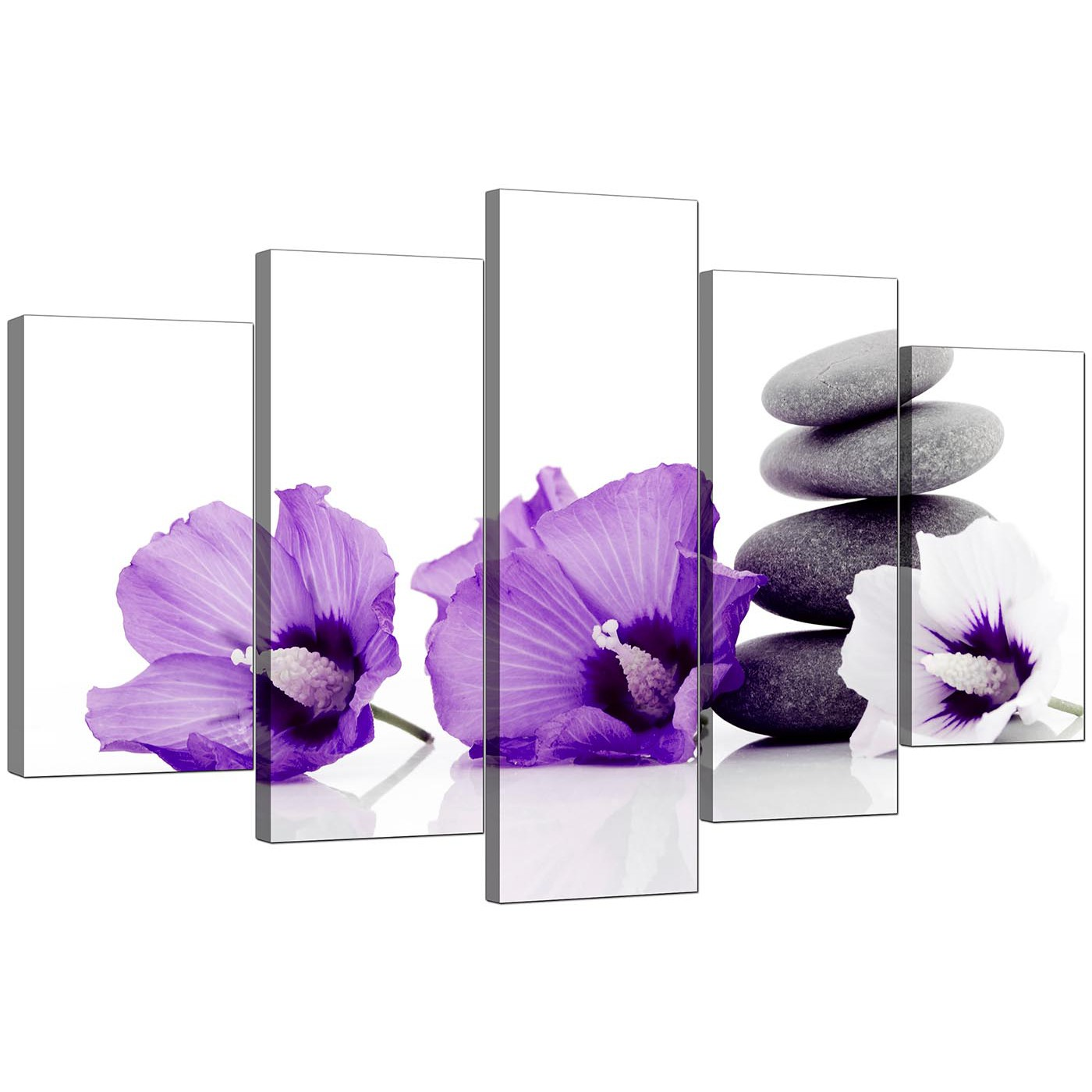 extra large flowers canvas wall art 5 panel in purple. Black Bedroom Furniture Sets. Home Design Ideas