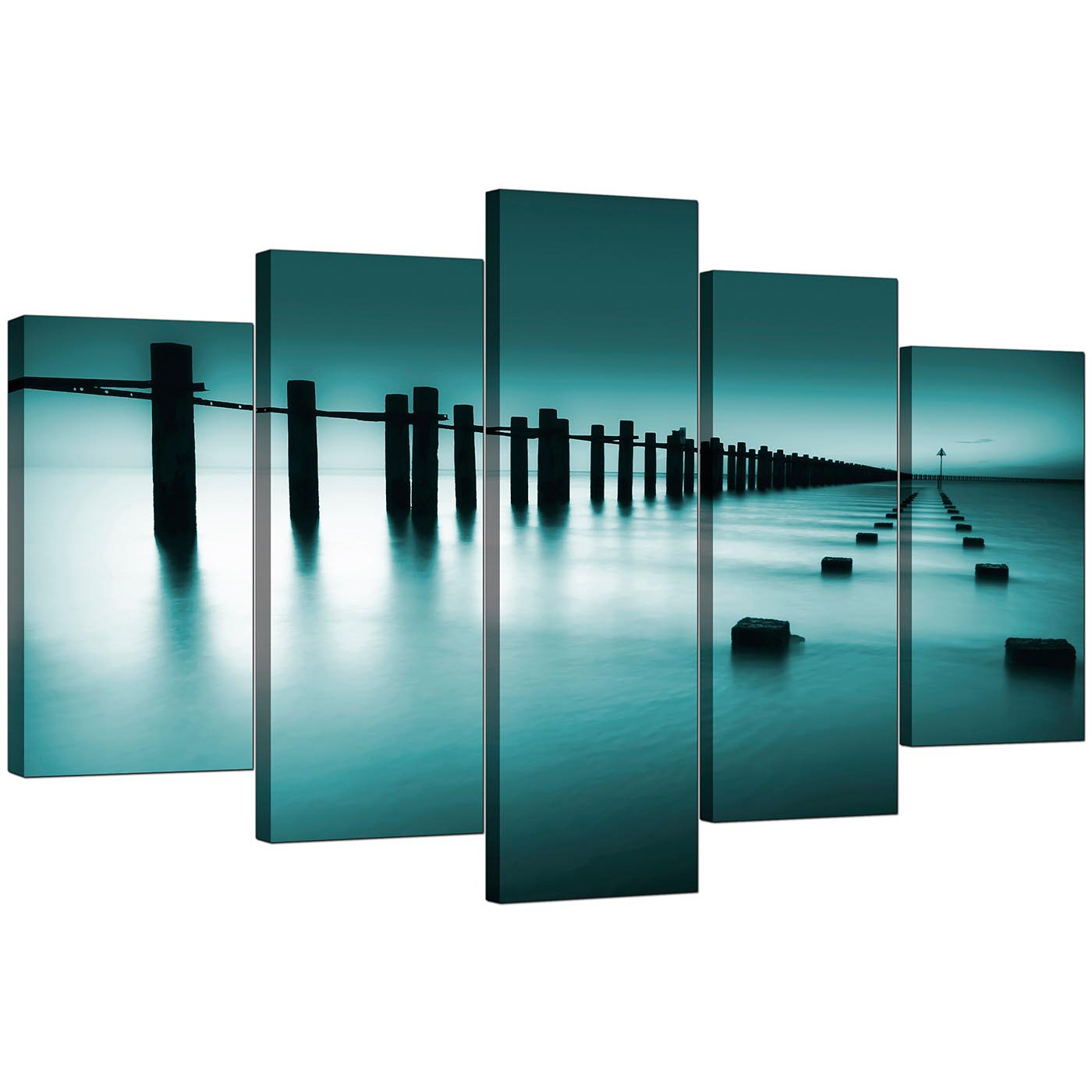Display Gallery Item 4; Five Panel Set Of Extra Large Teal Canvas Wall Art  Display Gallery Item 5