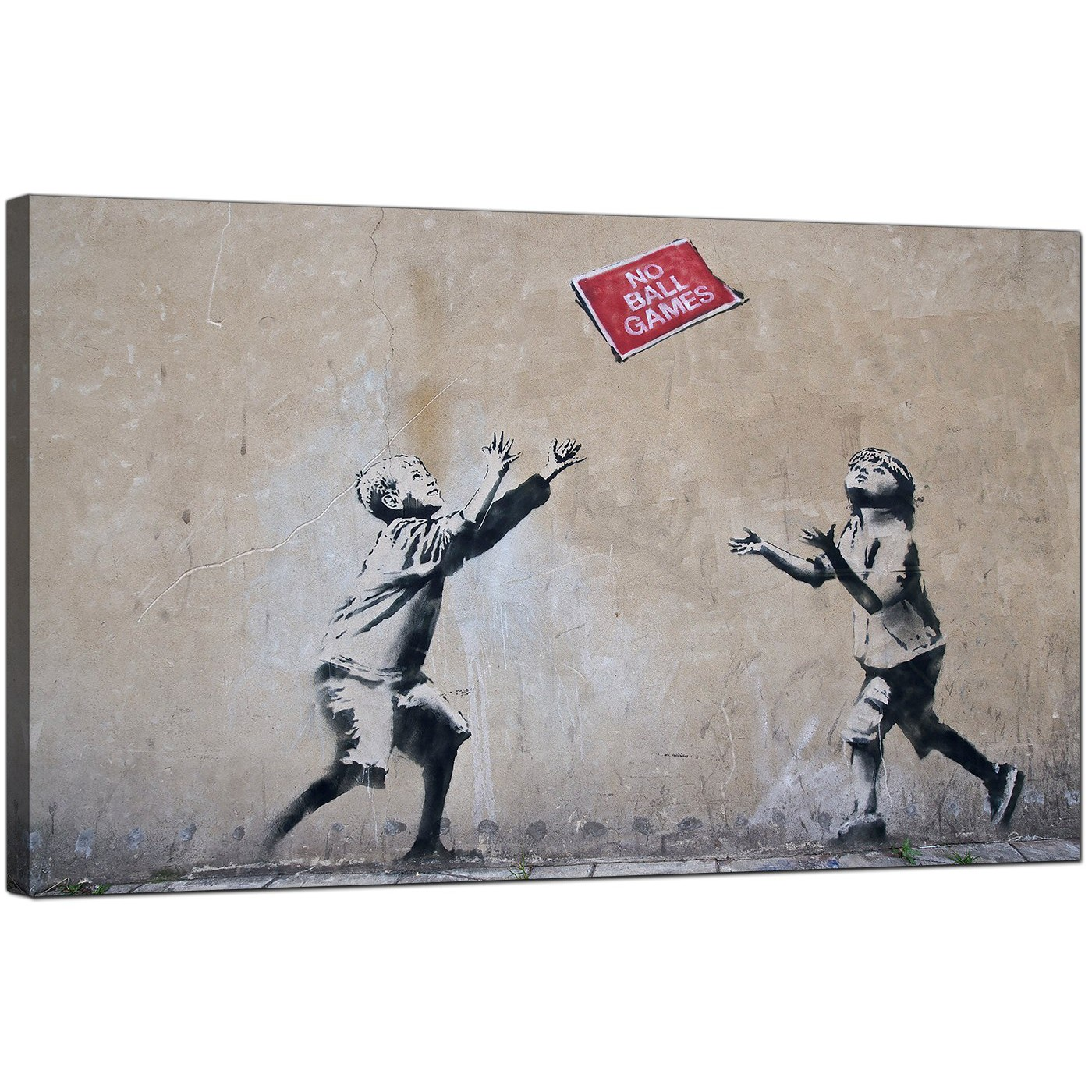 Display Gallery Item 4; Banksy Canvas Pictures - Children Playing With No Ball  Games Sign - Urban Art Display Gallery Item 5