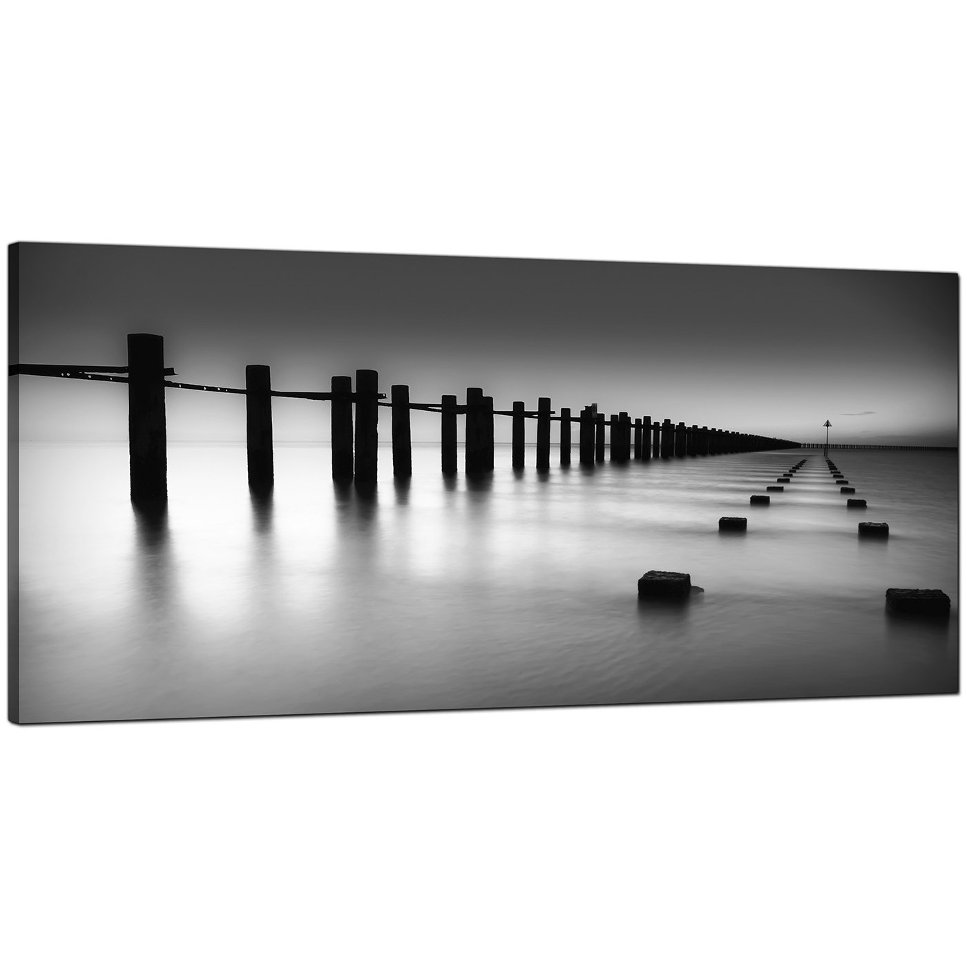 Modern Black And White Canvas Art Of The Sea