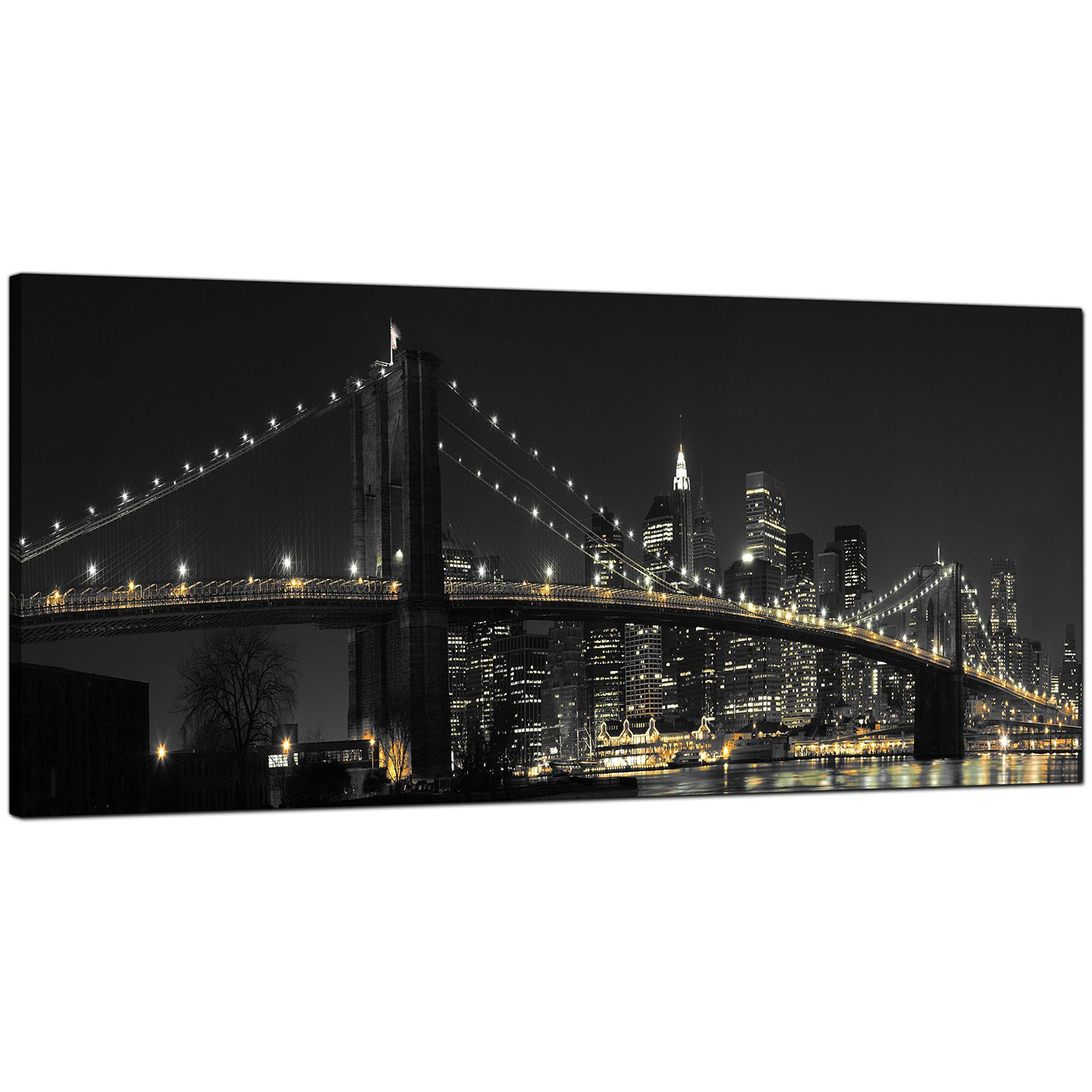 Large Framed Wall Art New York City Landscape Sunset: Panoramic Canvas Art Of Brooklyn Bridge New York For Your