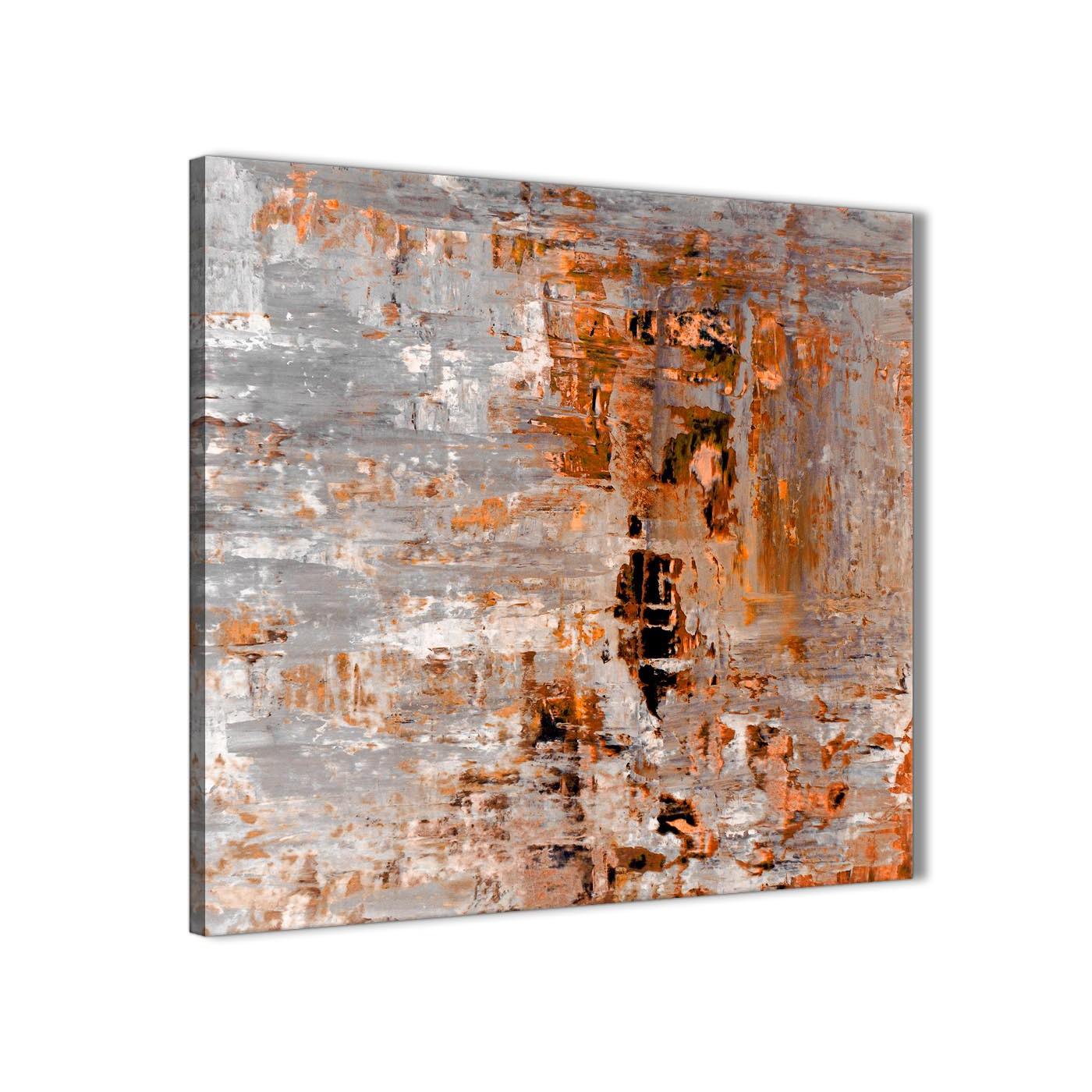 Burnt Orange Grey Painting Bathroom Canvas Wall Art