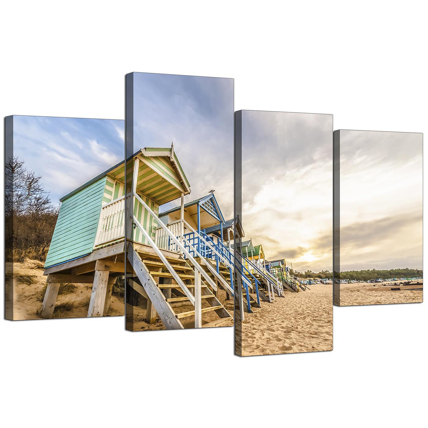 Beach Huts Scene Beach Canvas Multi 4 Set 130cm 4200