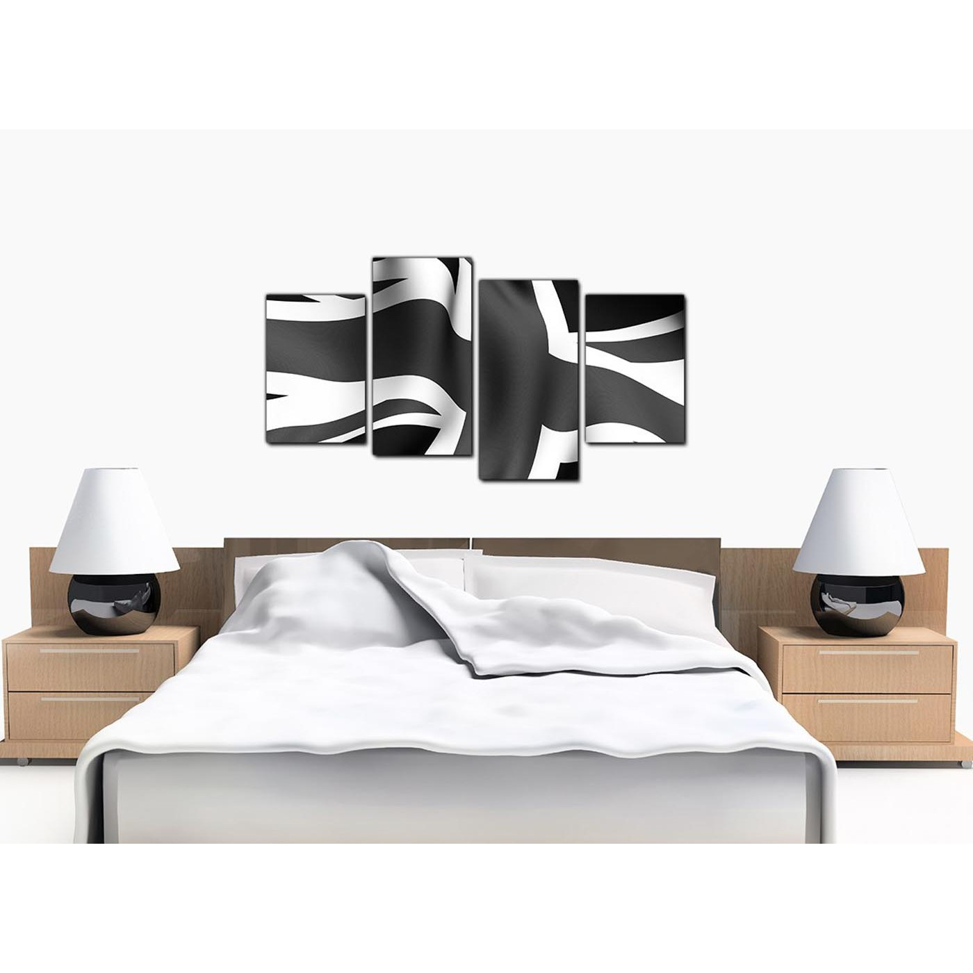 Union Jack Canvas in Black and White - For Living Room