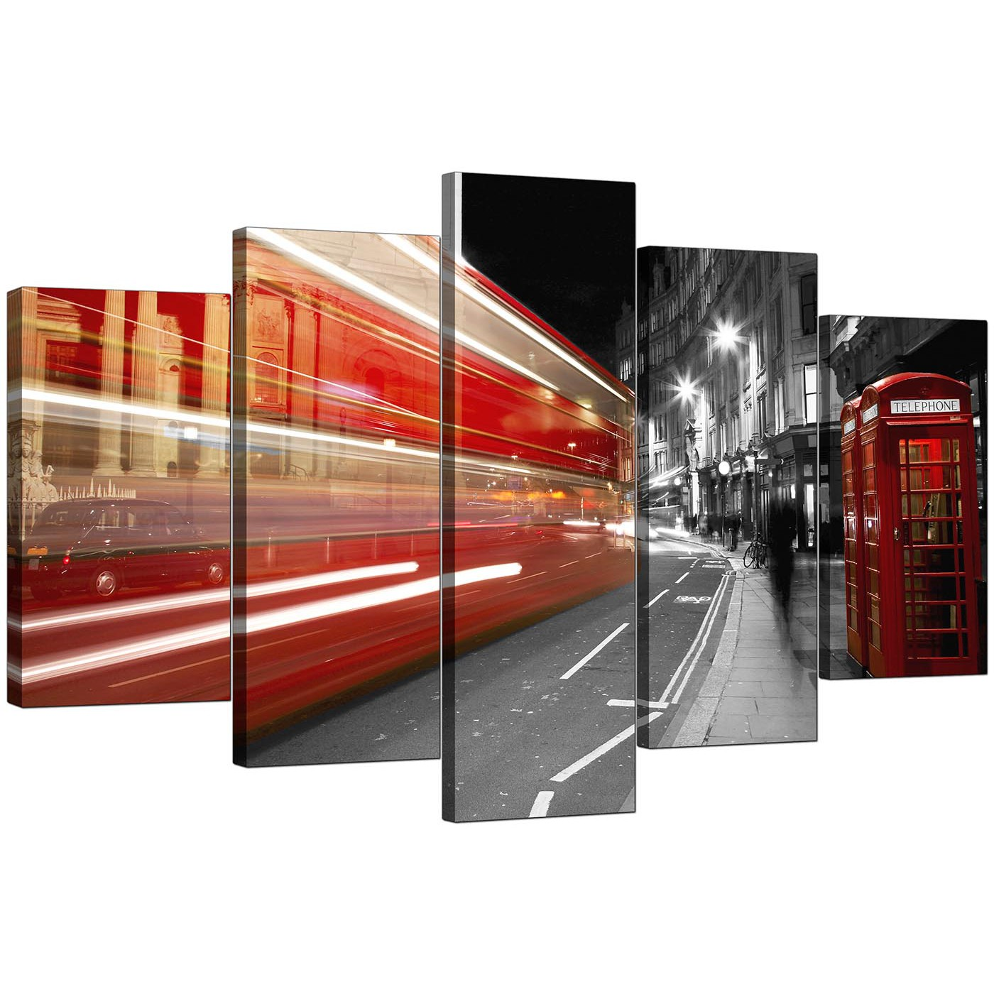 34b2c8b4fb3 Set Of Five Living-Room Red Canvas Picture Display Gallery Item 1 ...