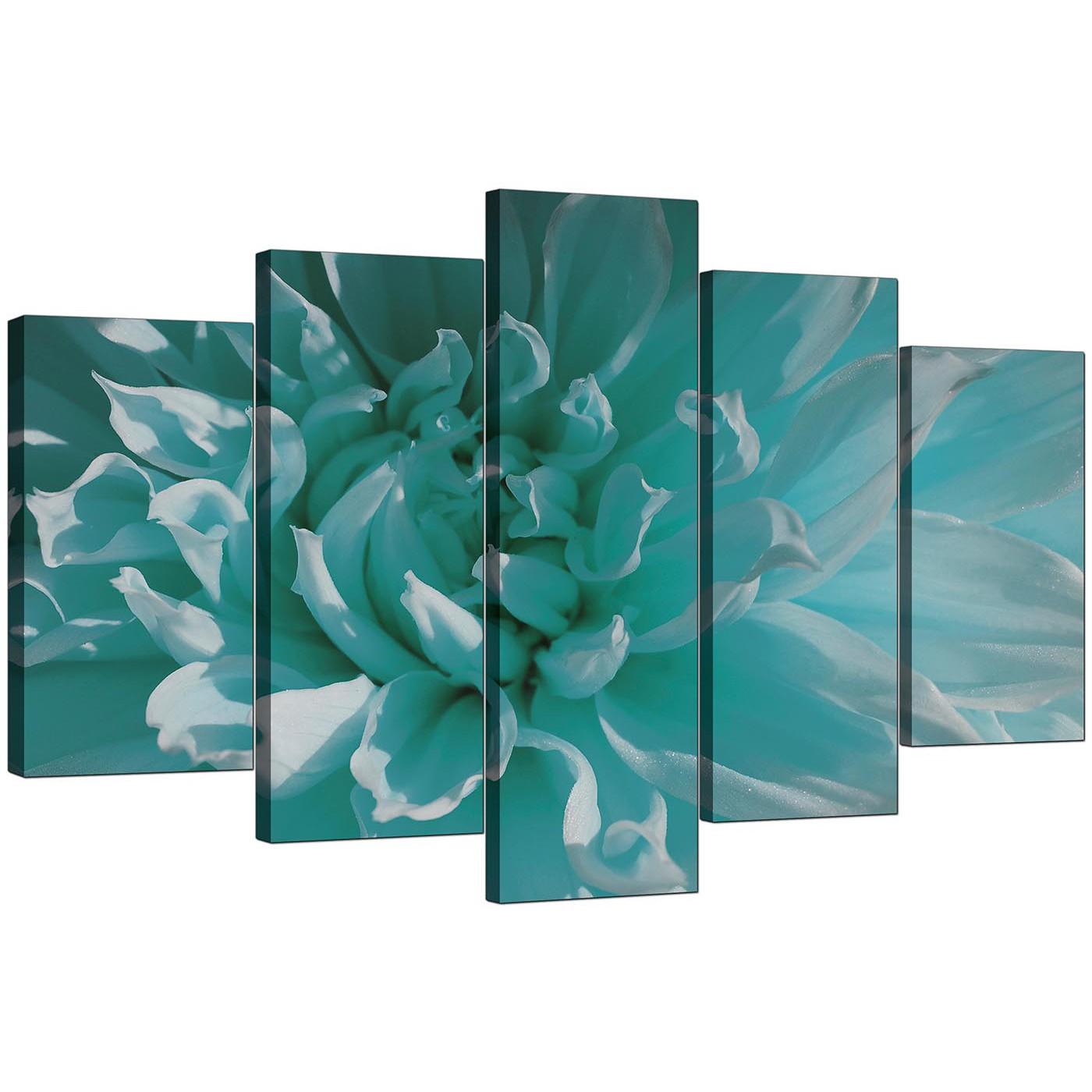 Nice Display Gallery Item 4; Set Of Five Modern Teal Canvas Picture Display  Gallery Item 5