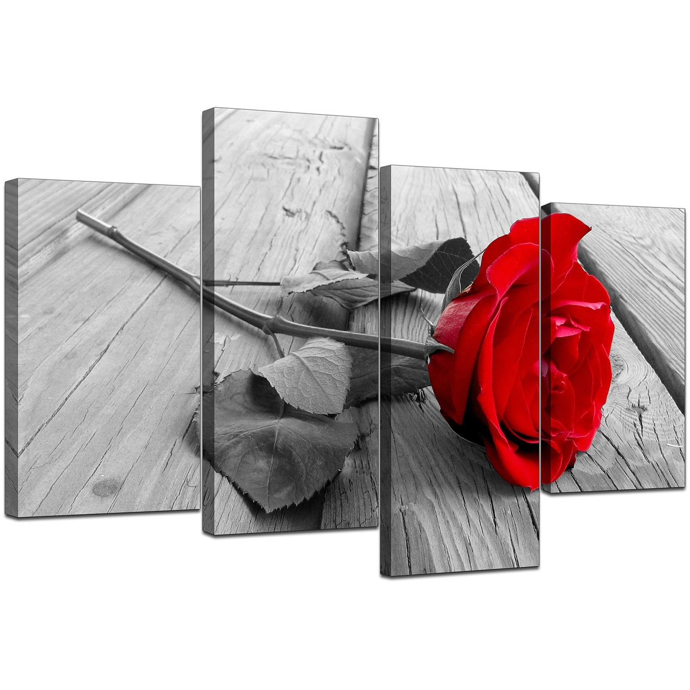 Floral Canvas Wall Art In Red Black And White For Living Room