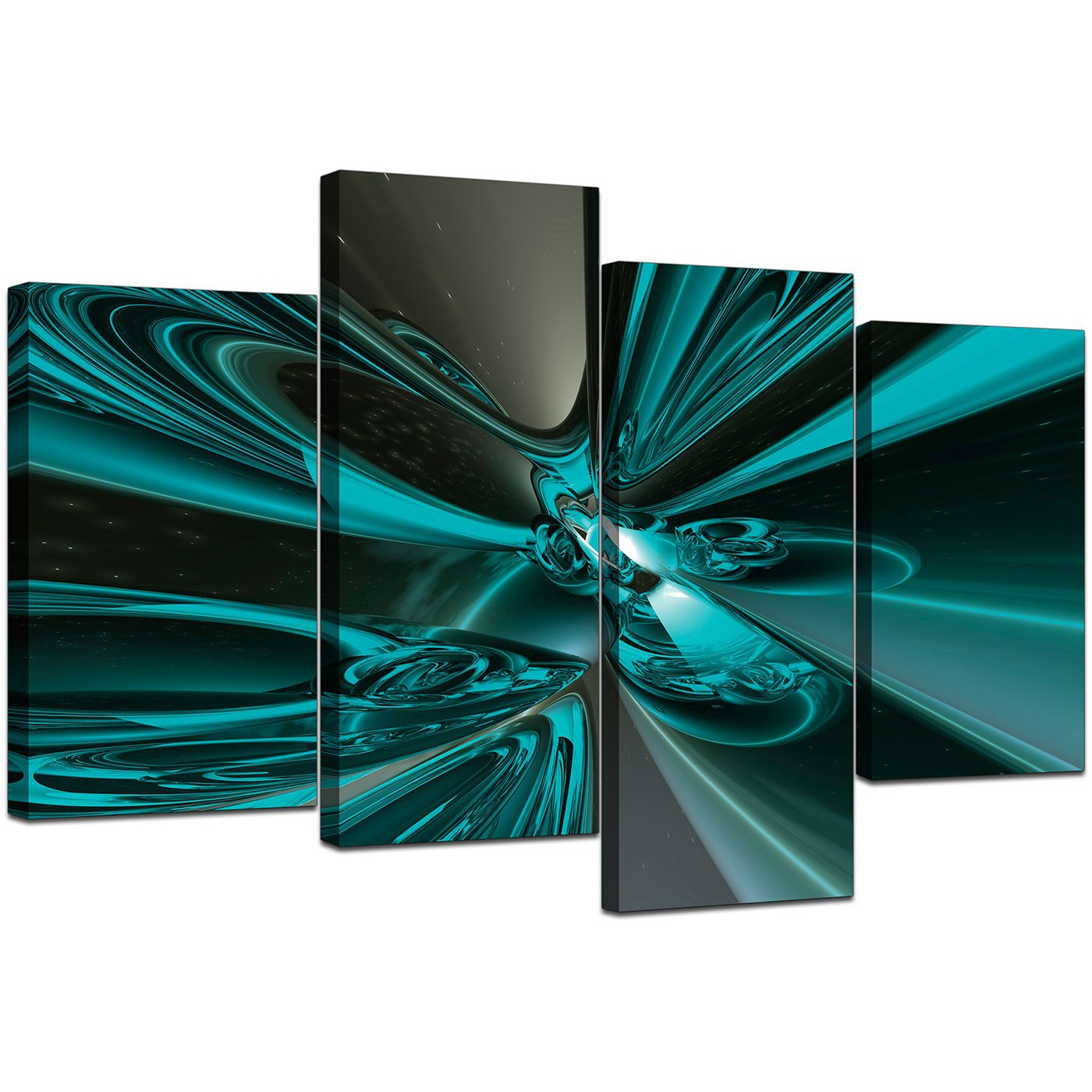 Large Abstract Canvas Art In Teal For Living Room