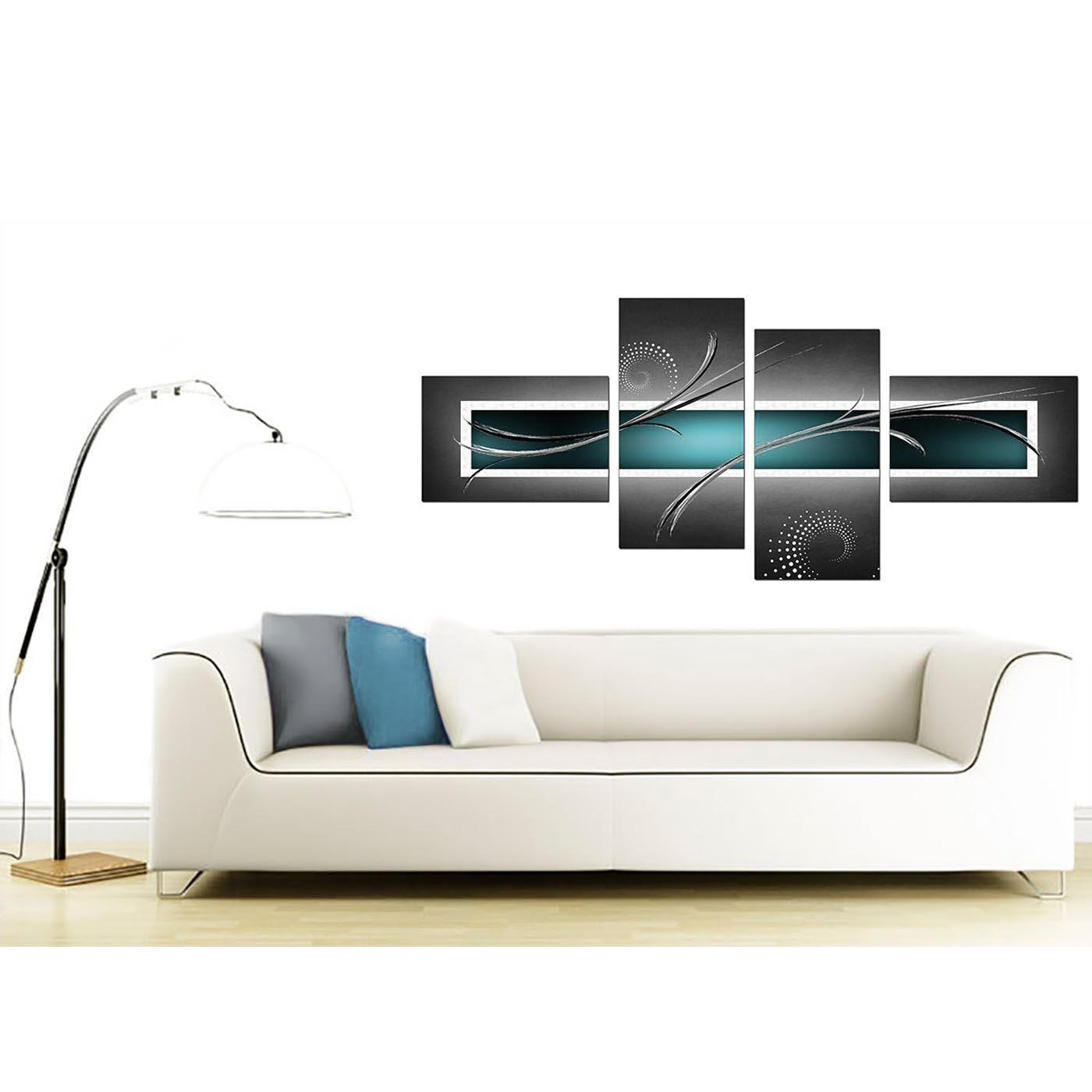 Canvas Art of Abstract in Teal for your Living Room