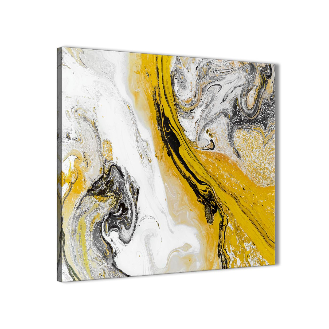 Mustard Yellow And Grey Swirl Bedroom Canvas Wall Art Accessories