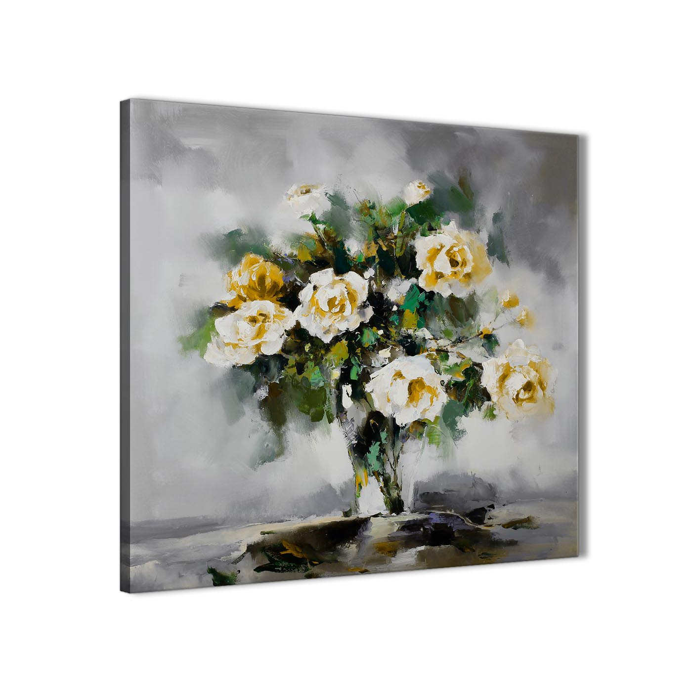 Mustard Yellow Grey Flowers Painting Bathroom Canvas Wall