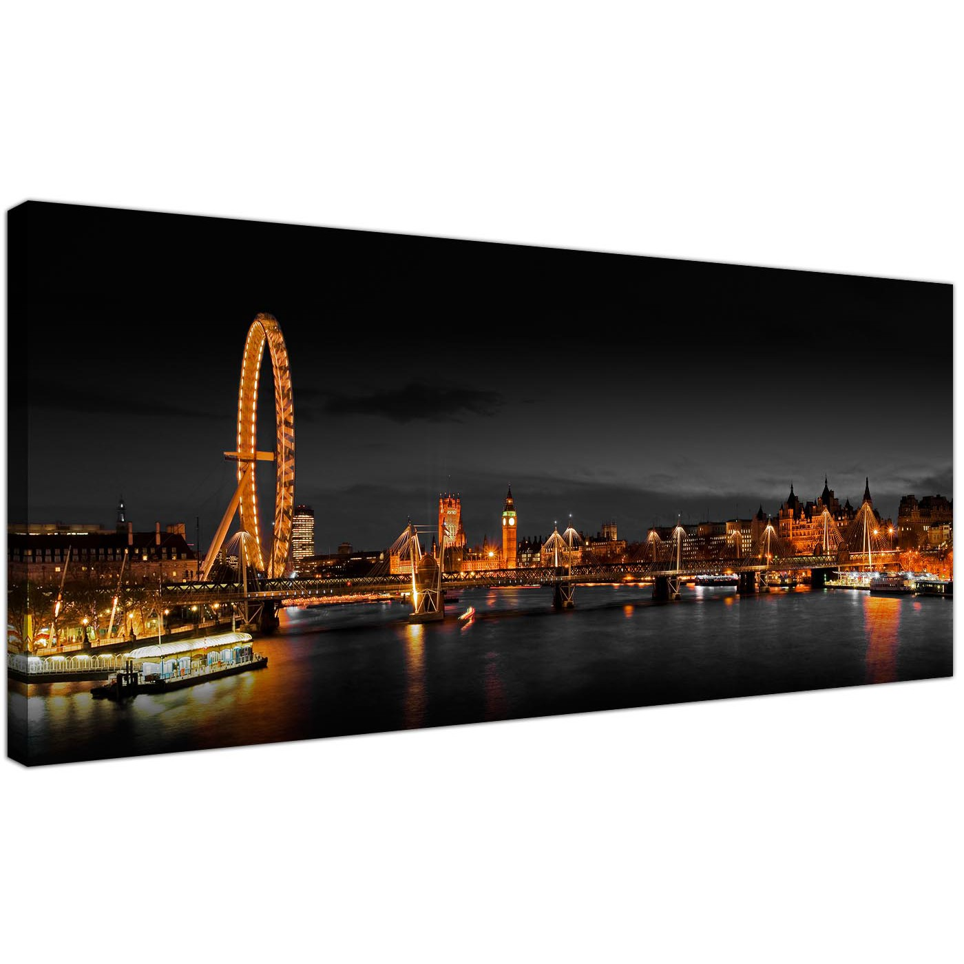 panoramic canvas wall art of london eye at night for your living room