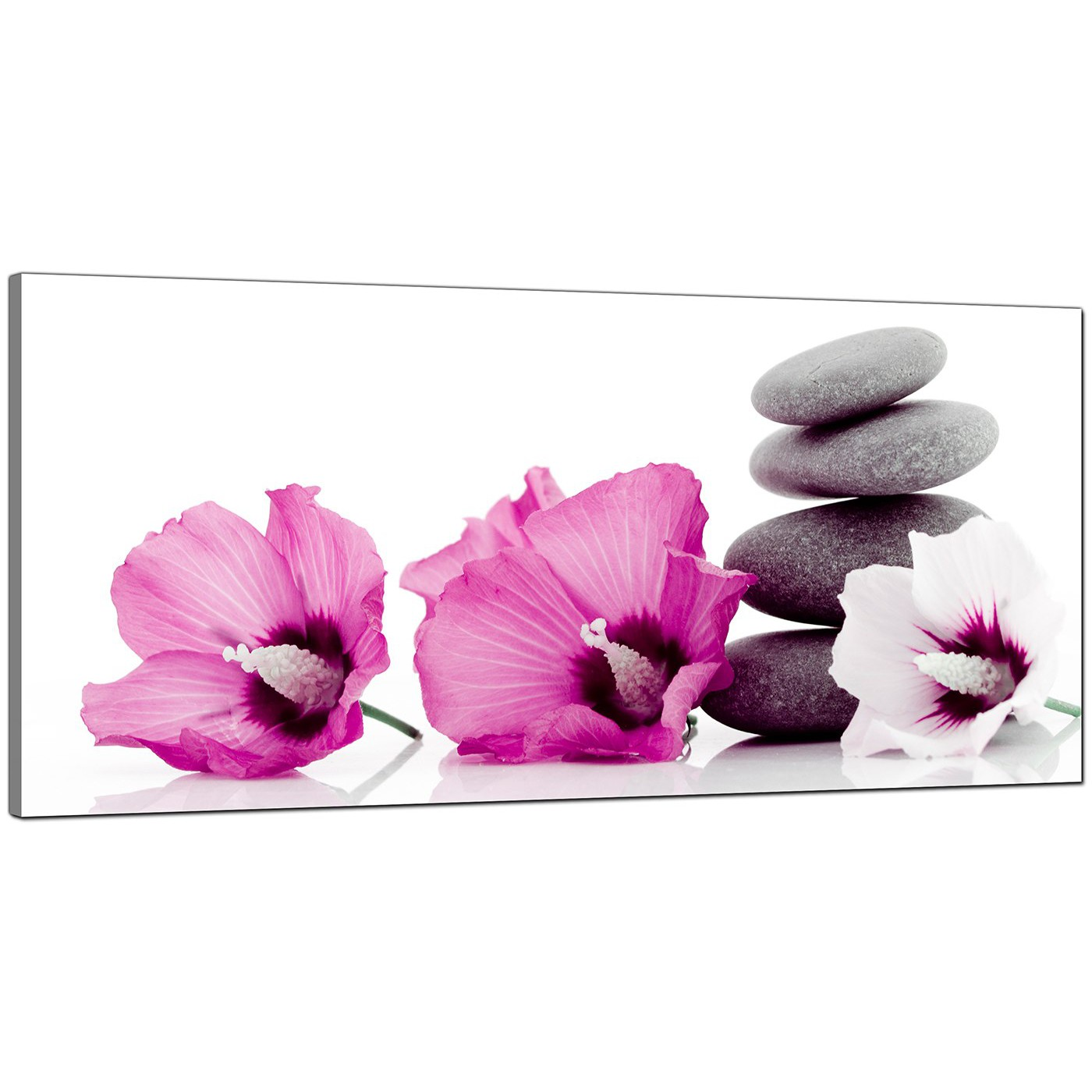 Large Pink Canvas Prints Of Flowers And Pebbles