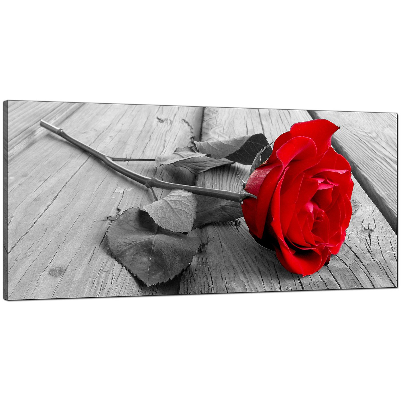 Canvas Picture Print Red Rose Flower Floral Art Large Poster Black And White