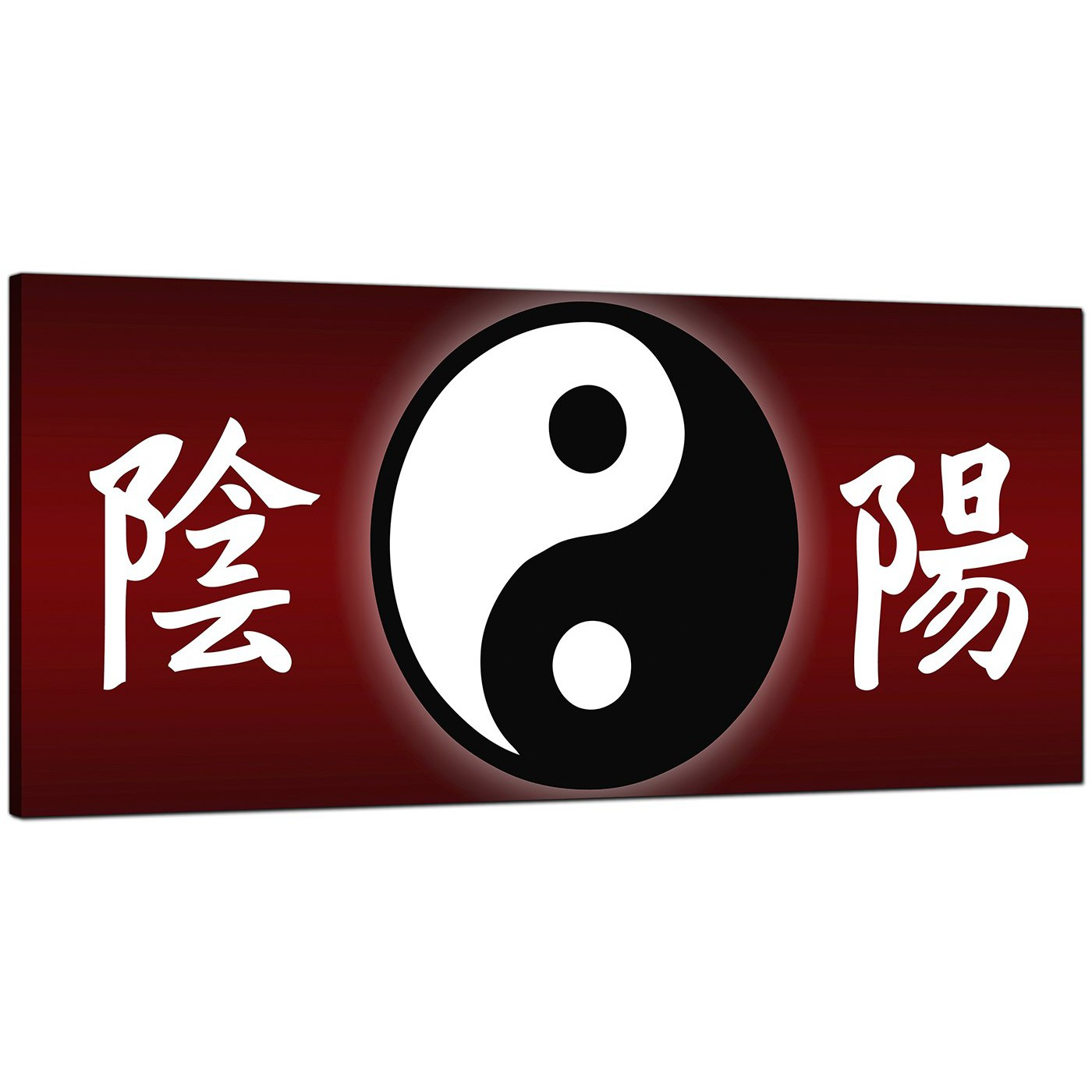 Cheap Red Canvas Wall Art Of Chinese Writing And Yin Yang Symbol