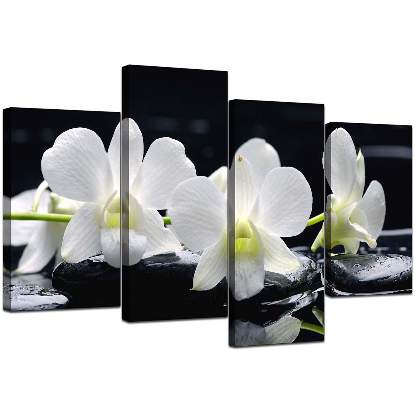 Display Gallery Item 5; Set Of Four Living Room Black White Canvas Art  Display Gallery Item 6