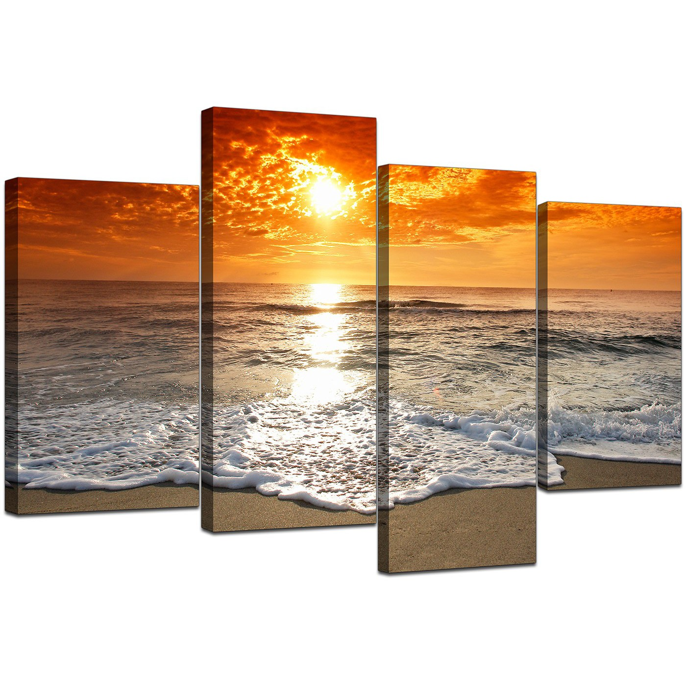canvas pictures of beach at sunset for your living room. Black Bedroom Furniture Sets. Home Design Ideas