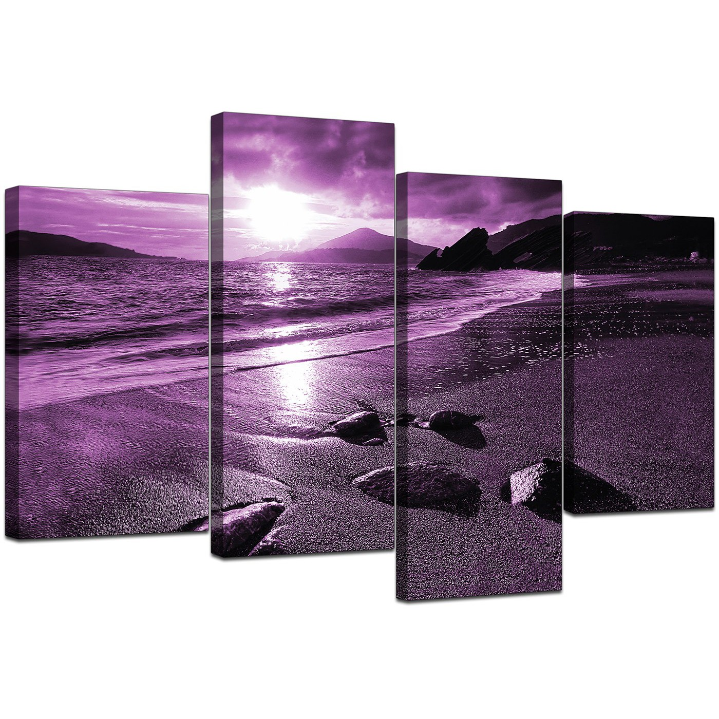 High Quality Display Gallery Item 5; 4 Piece Set Of Living Room Purple Canvas Picture  Display Gallery Item 6