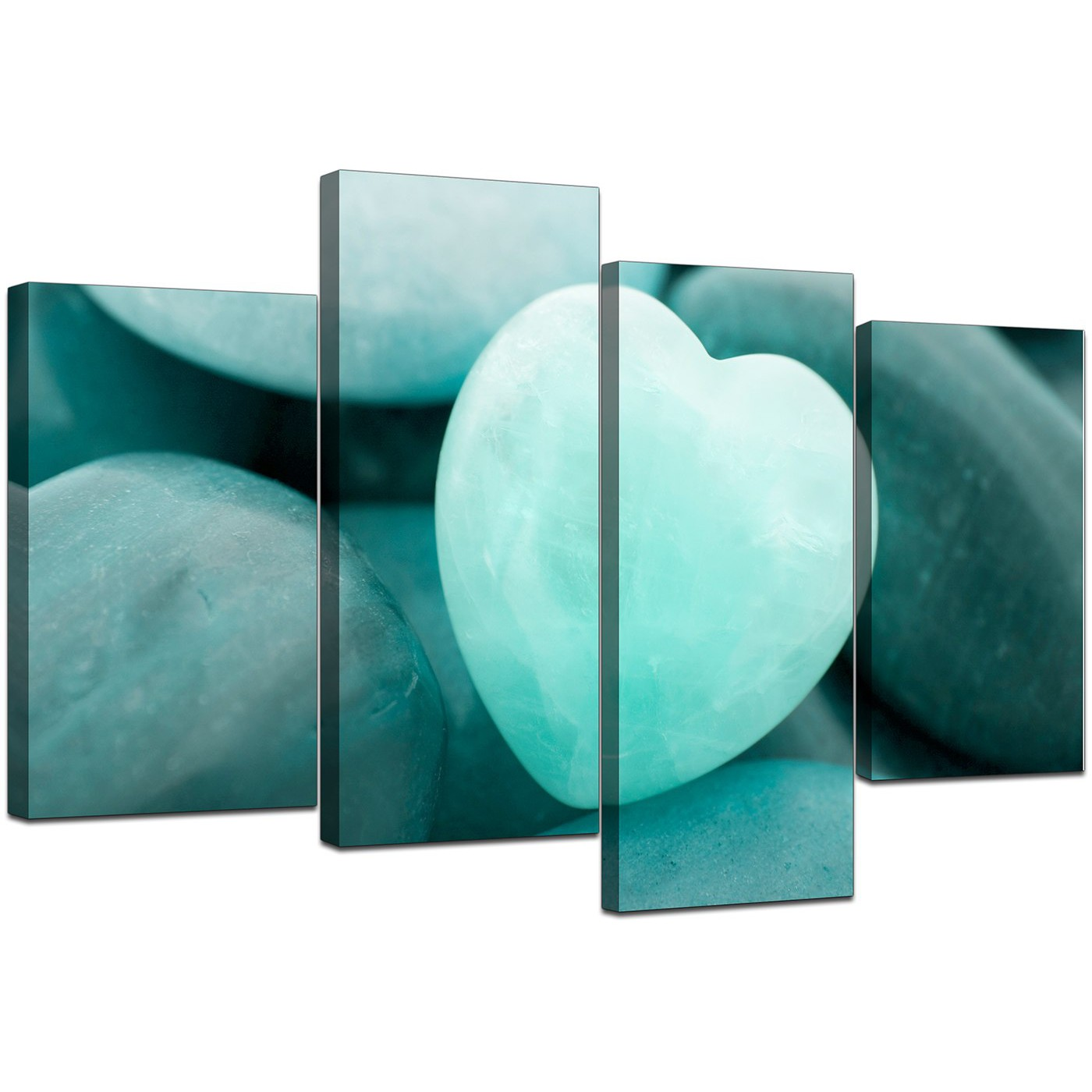 Display Gallery Item 5; Four Panel Set Of Living Room Teal Canvas Pictures  Display Gallery Item 6