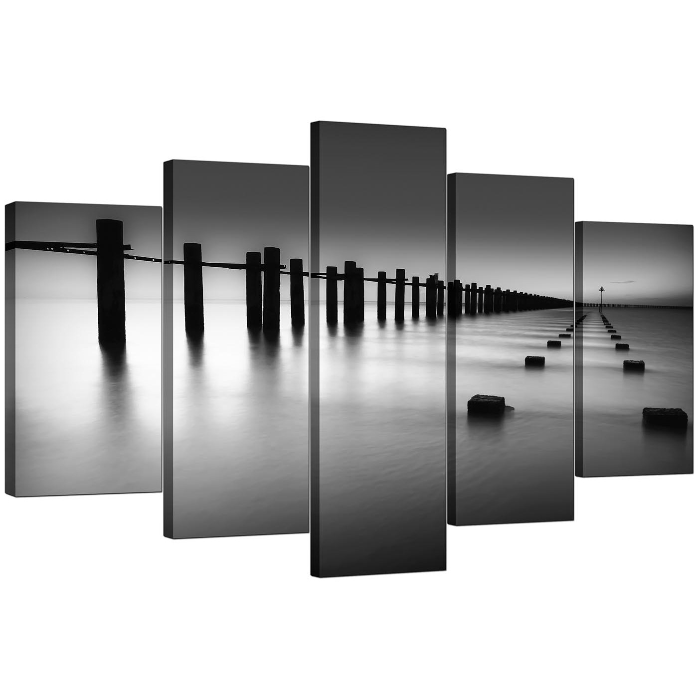 Extra Large Sea Canvas Prints 5 Piece In Black White