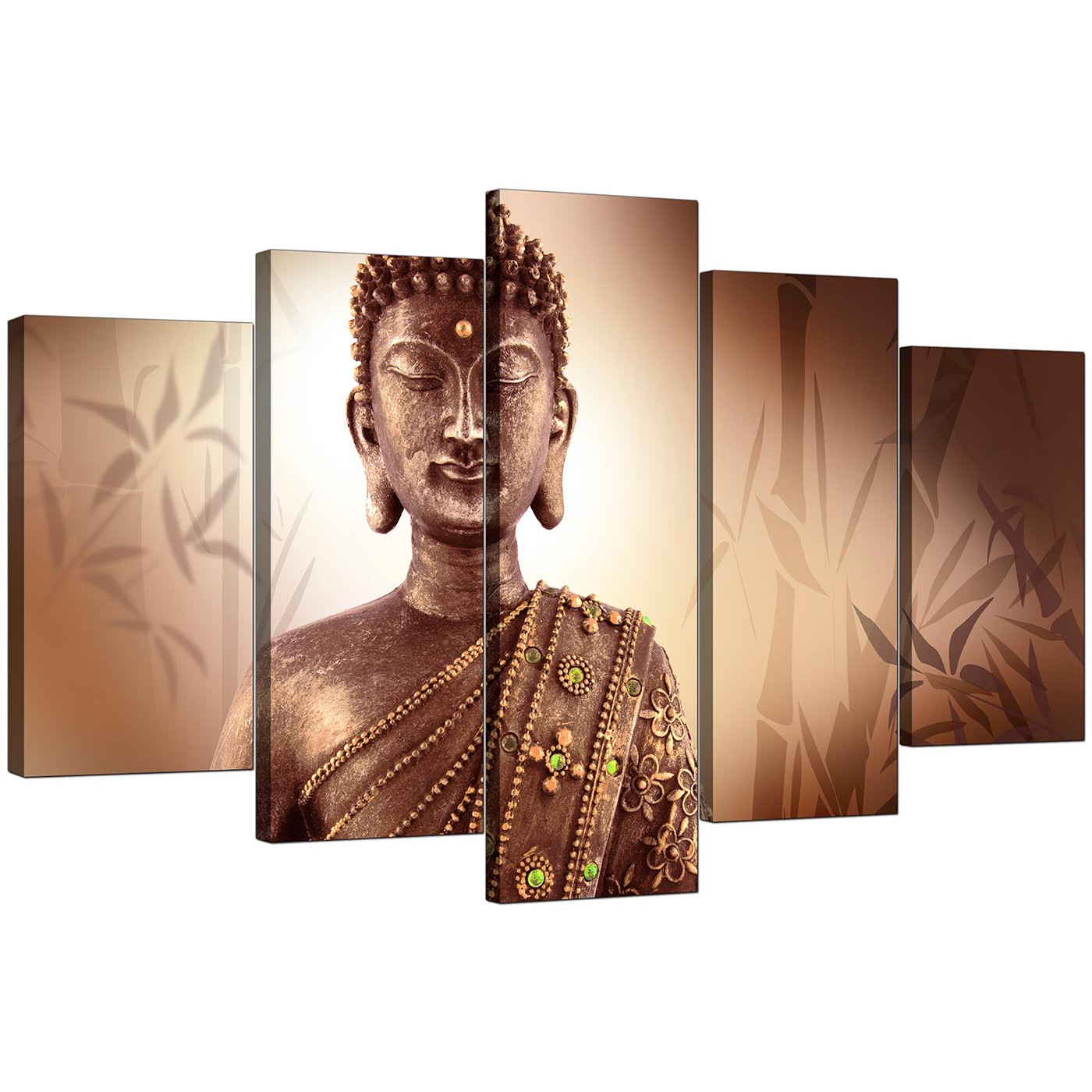 Extra Large Buddha Canvas Prints Uk Five Panel In Brown
