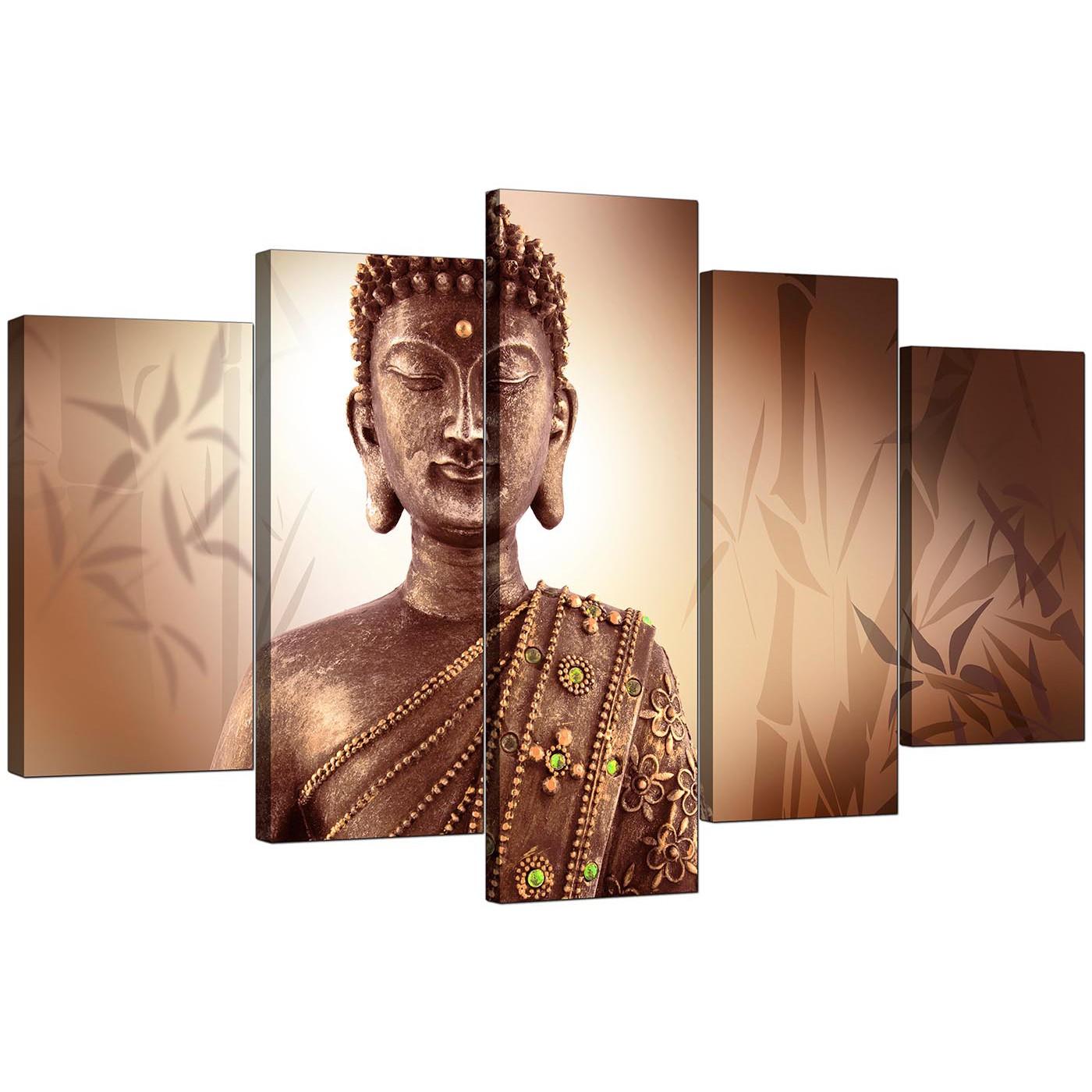 Display Gallery Item 4; 5 Piece Set Of Modern Brown Canvas Wall Art Display  Gallery Item 5