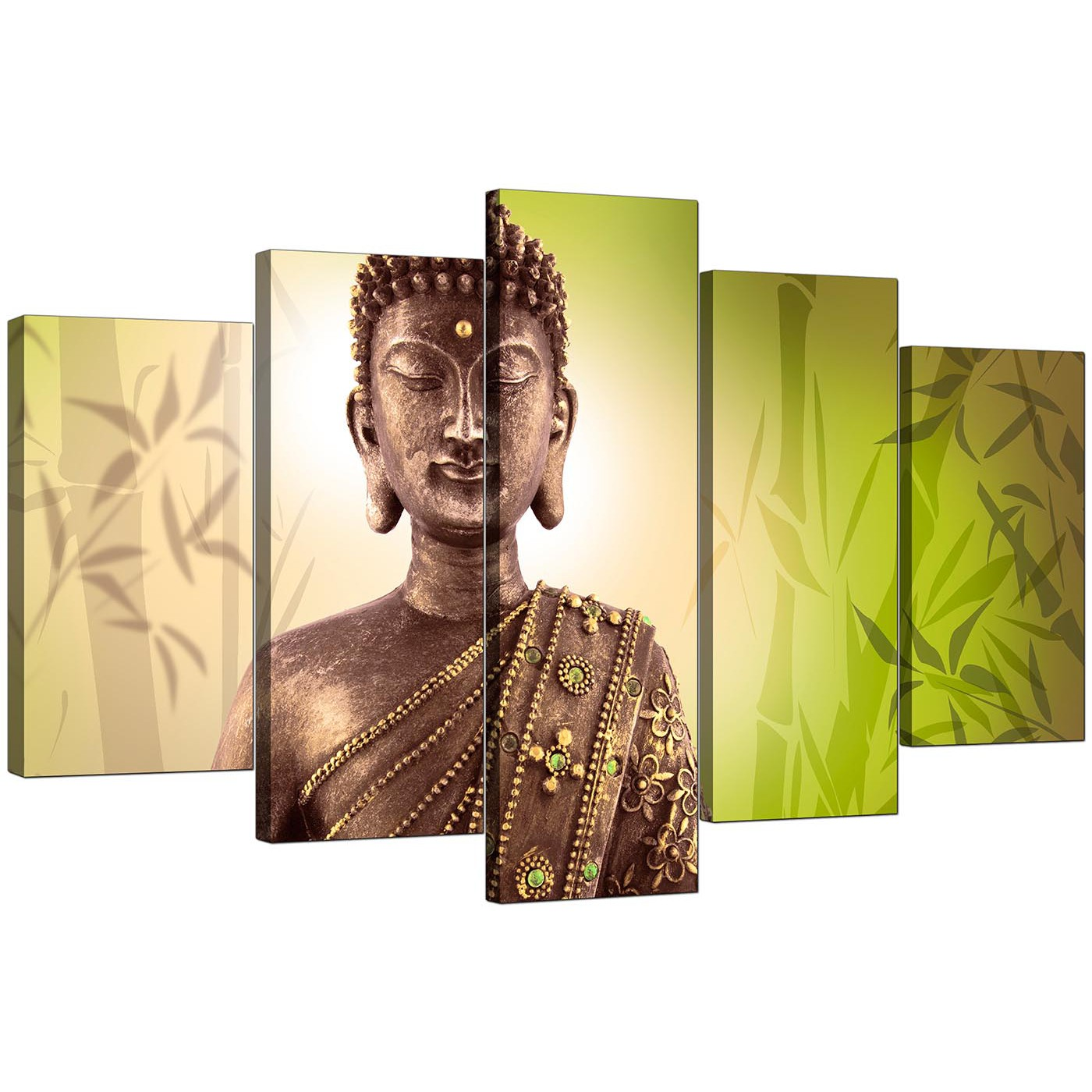 Extra Large Buddha Canvas Wall Art 5 Piece In Green