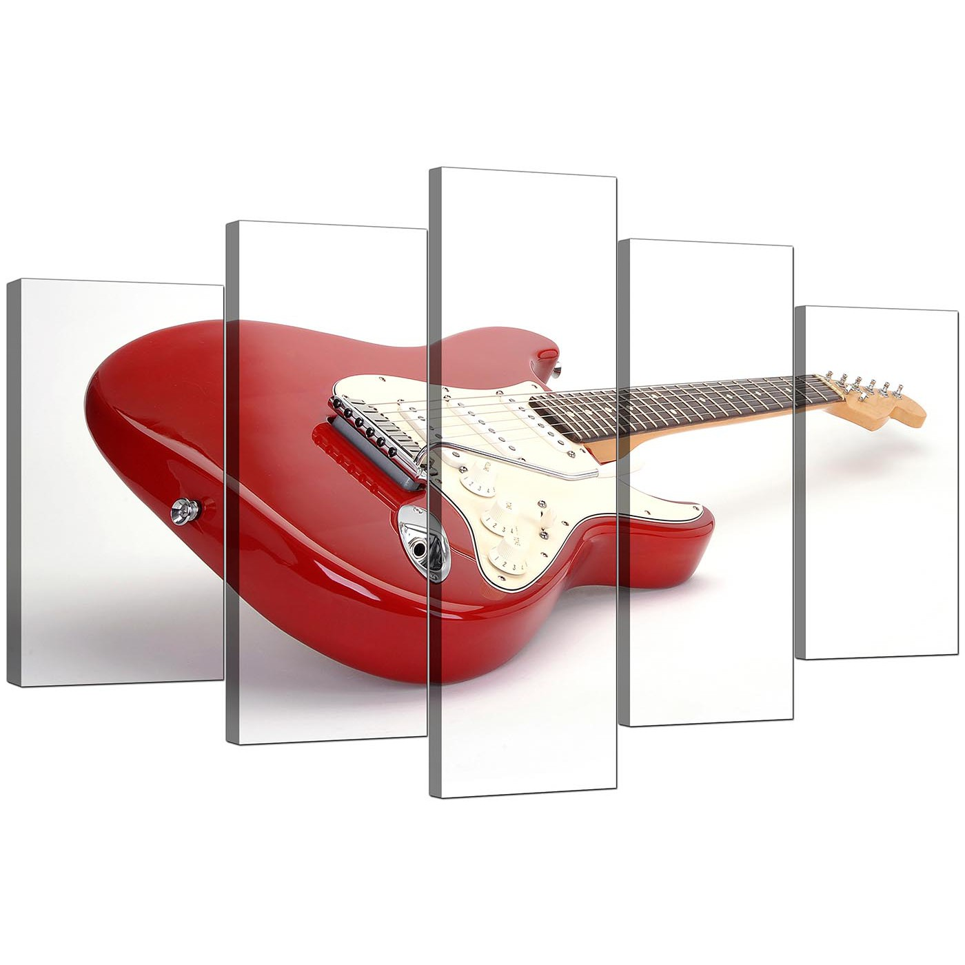 Display Gallery Item 4; Set Of Five Living-Room Red Canvas Pictures Display Gallery Item 5  sc 1 st  Wallfillers & Extra Large Guitar Canvas Wall Art 5 Panel in Red