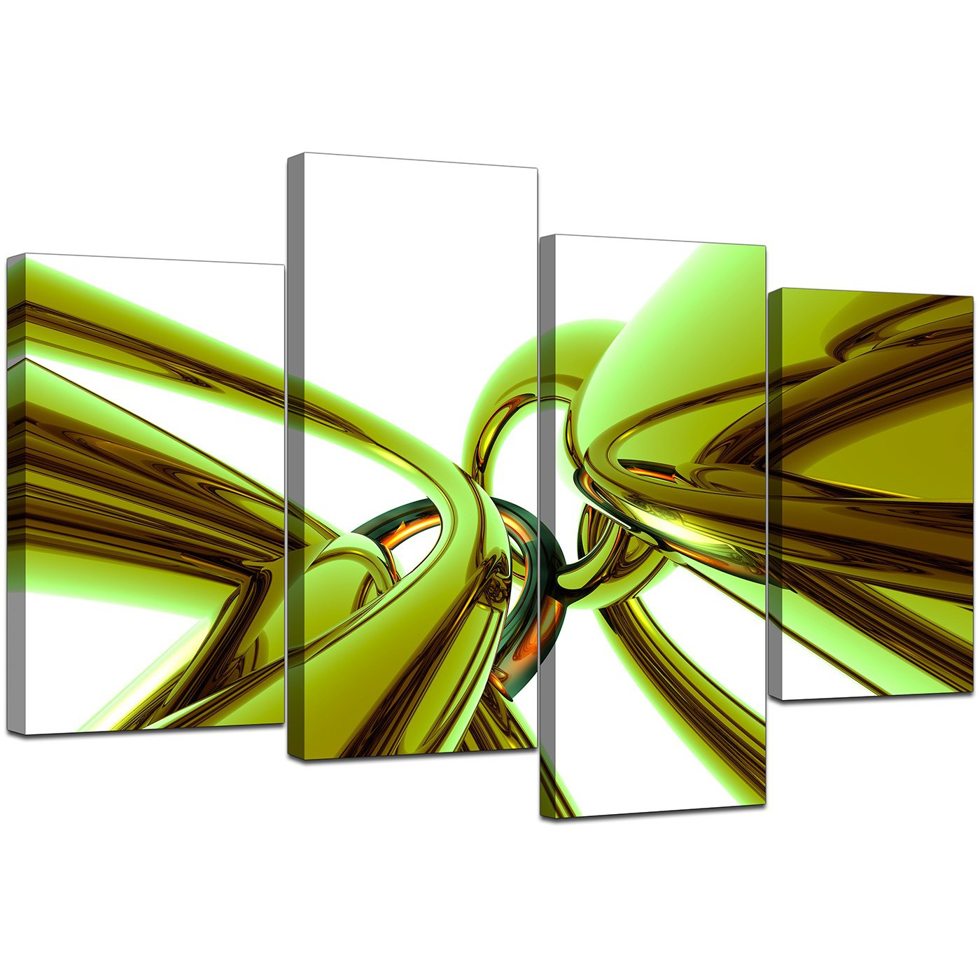 Beautiful Display Gallery Item 5; Set Of Four Living Room Lime Green Canvas Art  Display Gallery Item 6