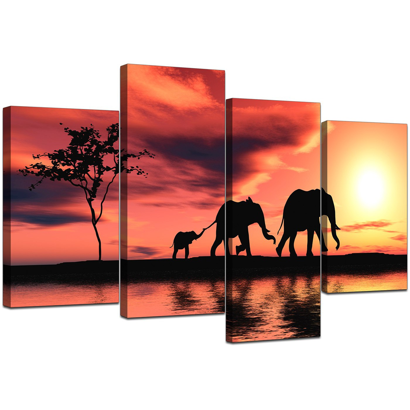 Canvas prints of african elephant in orange for your for Best place to buy canvas prints