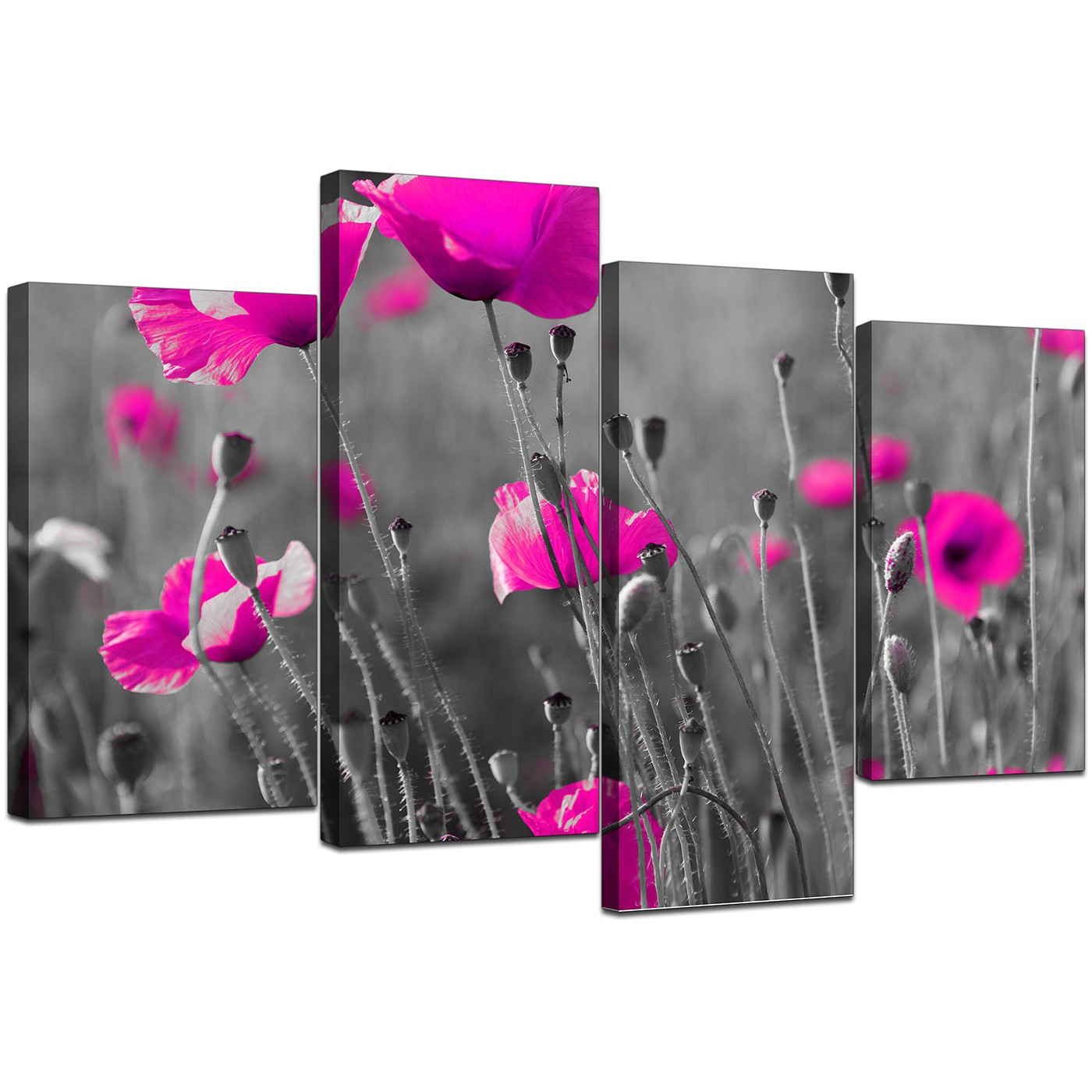 Canvas art of pink poppies in black white for your girls bedroom display gallery item 5 set of four cheap pink canvas wall art display gallery item 6 mightylinksfo