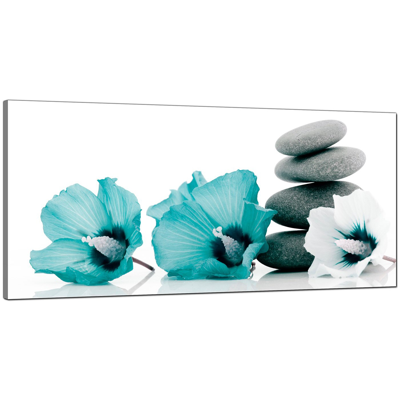 Large Teal And Grey Canvas Pictures Of Flowers And Pebbles