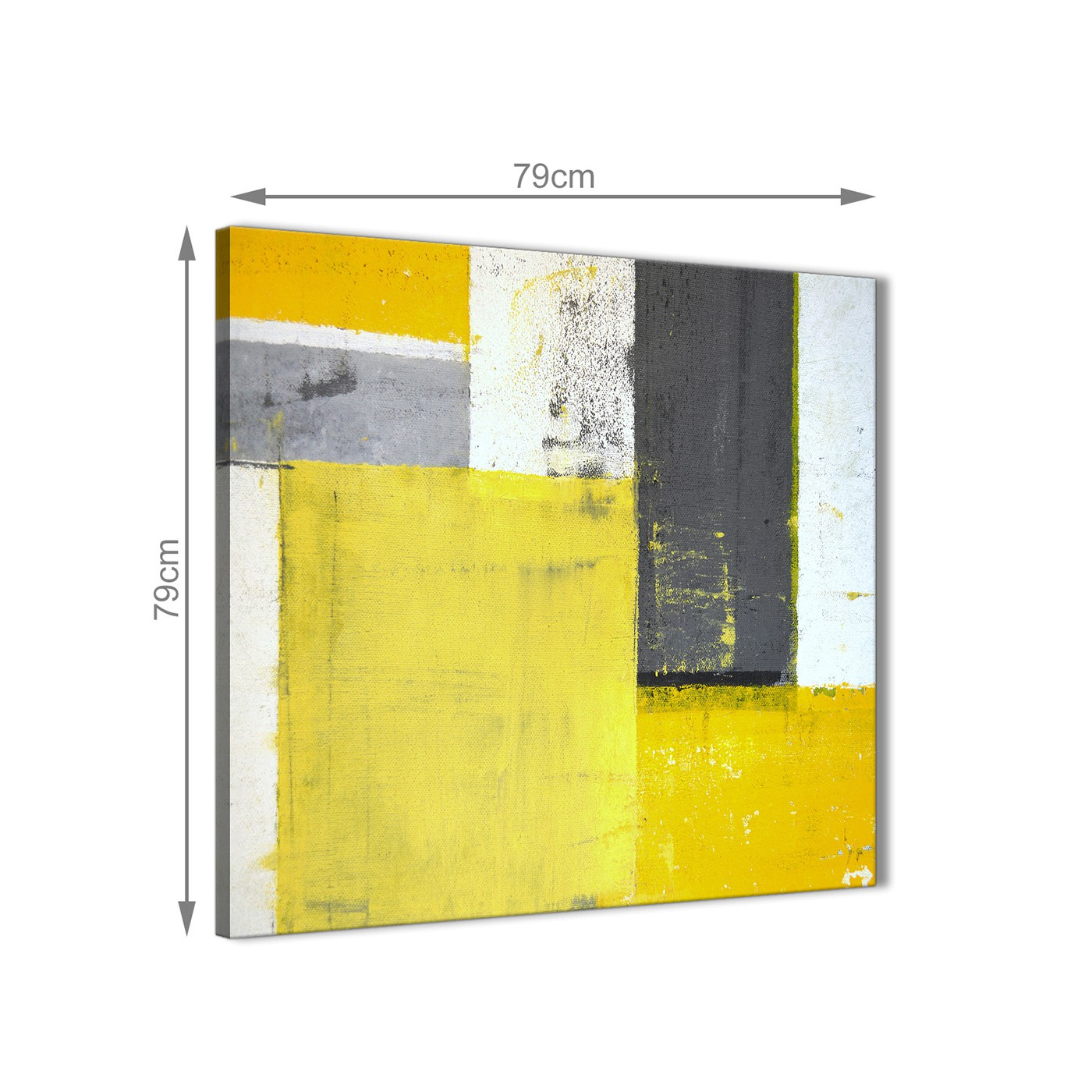 Yellow Grey Abstract Painting Canvas Wall Art Picture - Modern 79cm ...