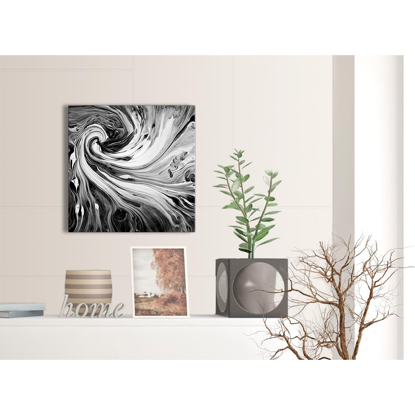 Display Gallery Item 3; Contemporary Black White Grey Swirls Modern  Abstract Canvas Wall Art Modern 49cm Square 1S354S For Your Display Gallery  Item 4