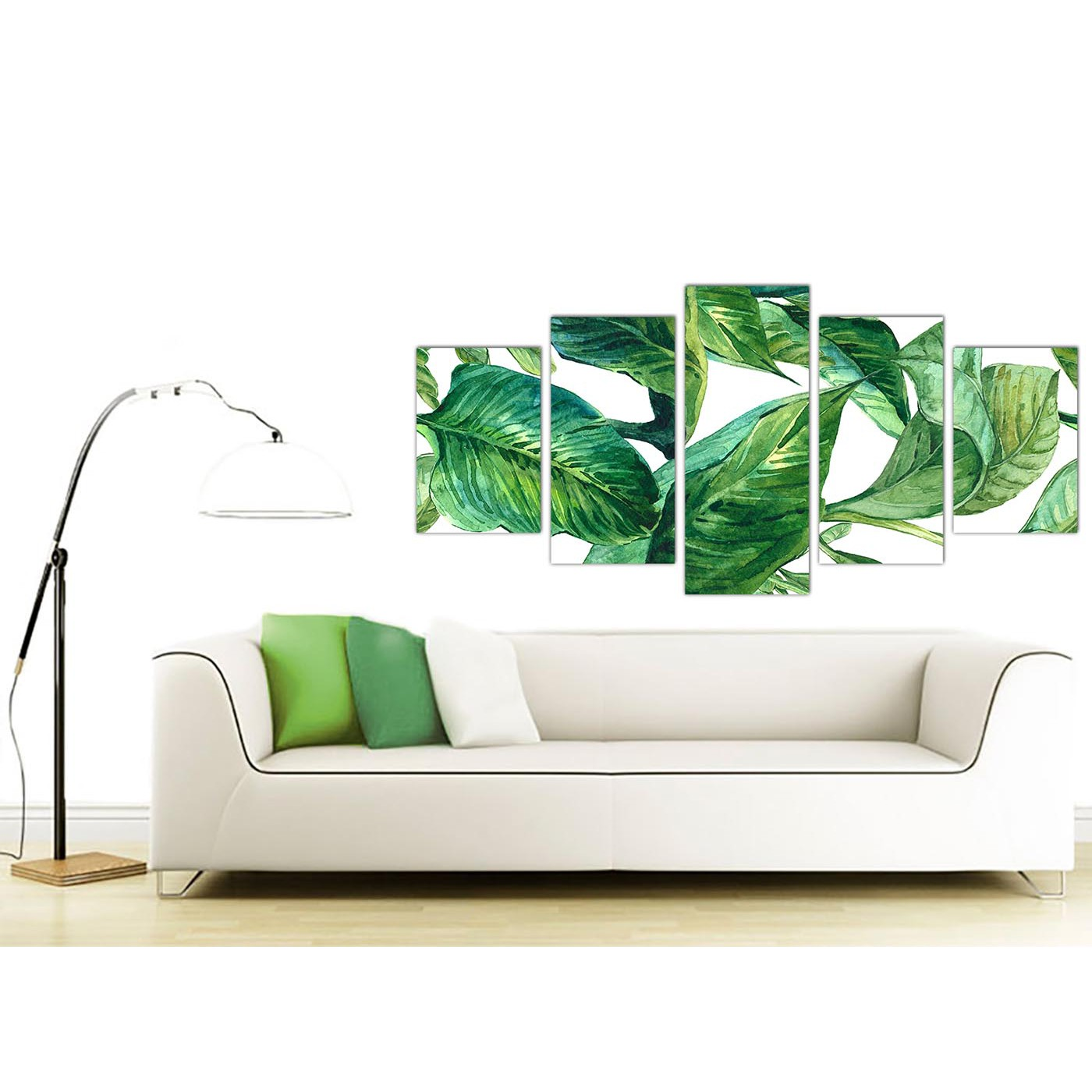 Extra Large Green Palm Tropical Banana Leaves Canvas Wall