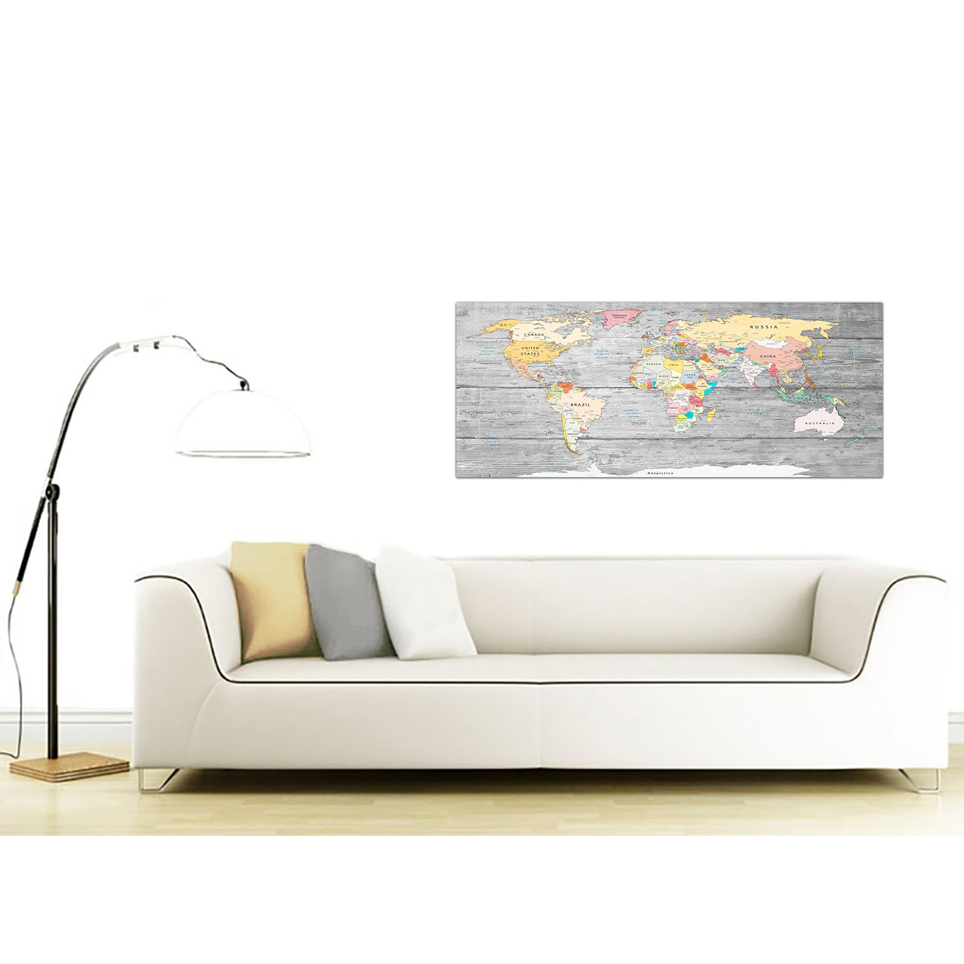 Large map of world canvas art print colourful light grey modern display gallery item 3 contemporary grey large map of world canvas art print colourful light grey maps canvas modern 120cm display gallery item 4 gumiabroncs Image collections