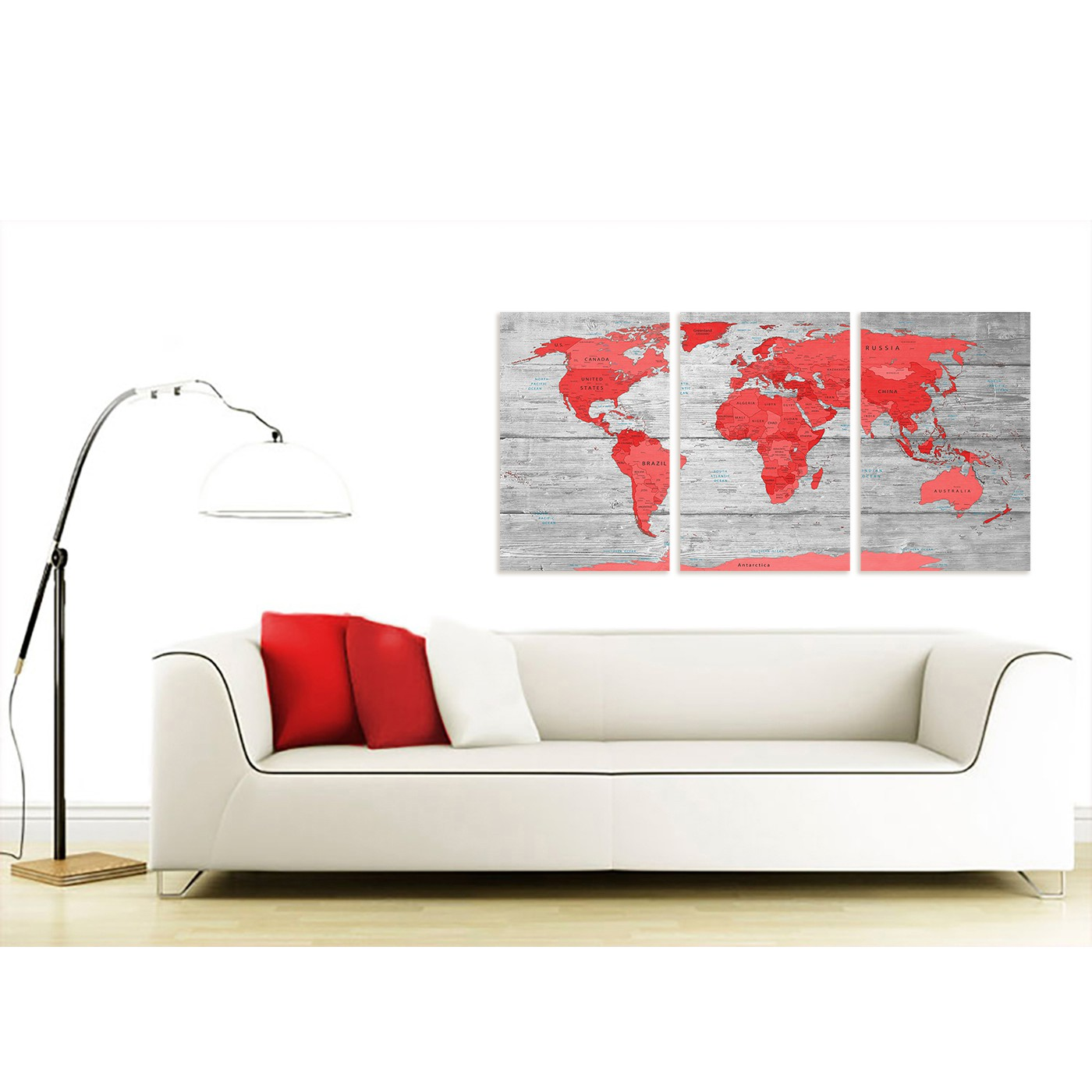 Large red grey map of the world atlas canvas wall art print split 3 display gallery item 3 contemporary large red grey map of the world atlas canvas wall art print multi 3 set display gallery item 4 gumiabroncs Images