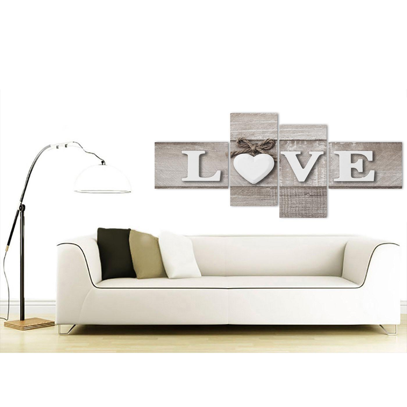 Large shabby chic love quote grey canvas wall art prints for Modern house 8 part 6