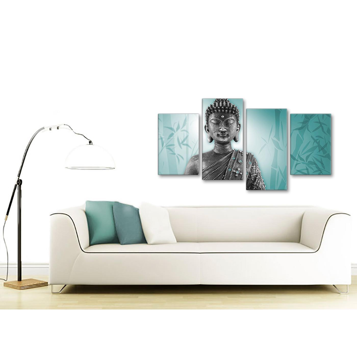 Large Teal and Grey Silver Canvas Art Prints of Buddha - Split 4 Set ...