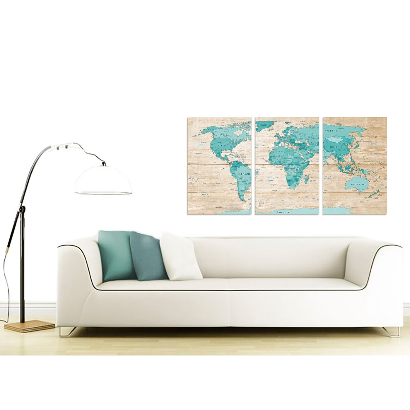 Display gallery item 3 contemporary large teal cream map of world atlas canvas split 3 set 3313 for your dining display gallery item 4