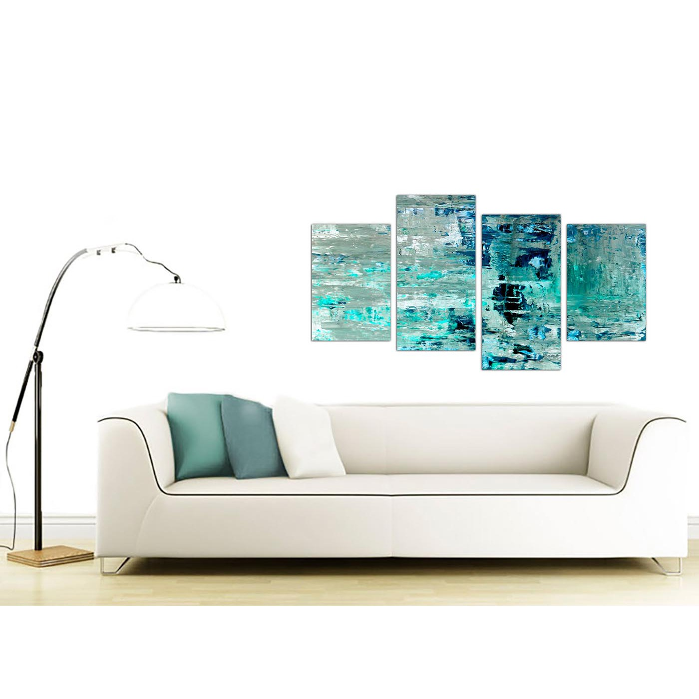 Large Turquoise Teal Abstract Painting Wall Art Print Canvas - Multi ...