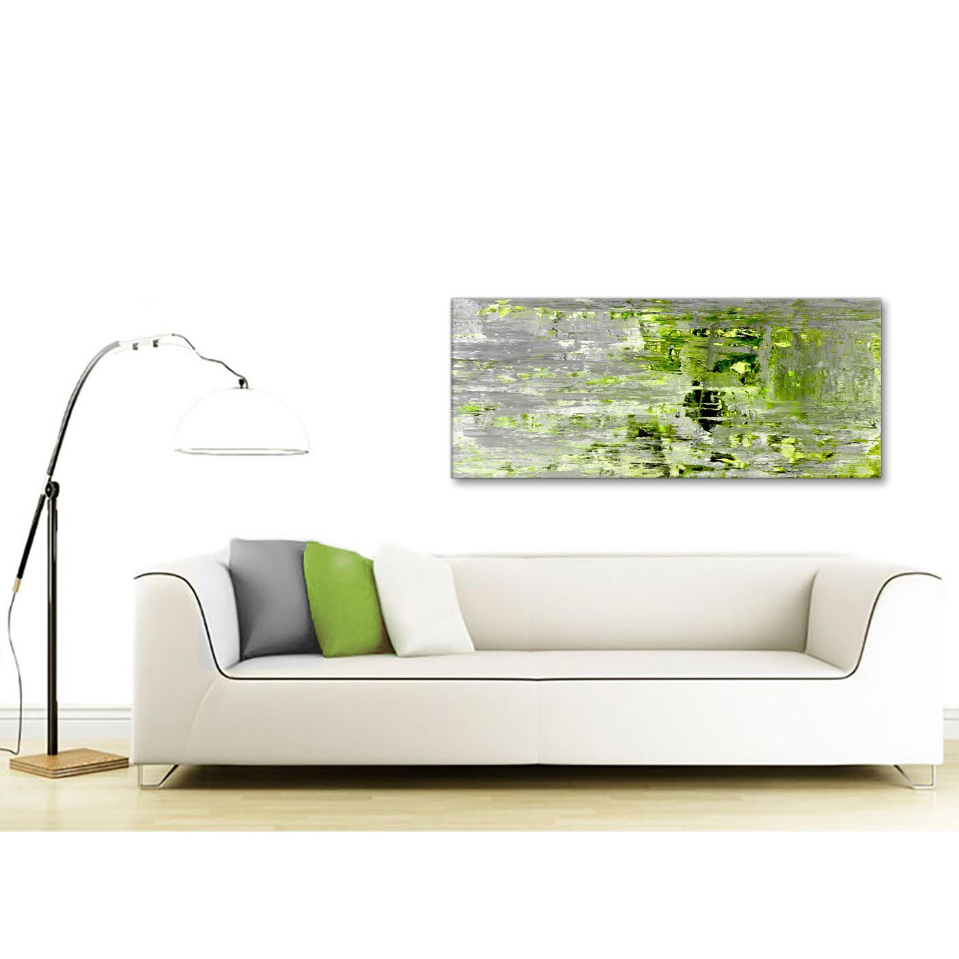 Display Gallery Item 3; Contemporary Lime Green Grey Abstract Painting Wall  Art Print Canvas Modern 120cm Wide 1360 For Your Display Gallery Item 4