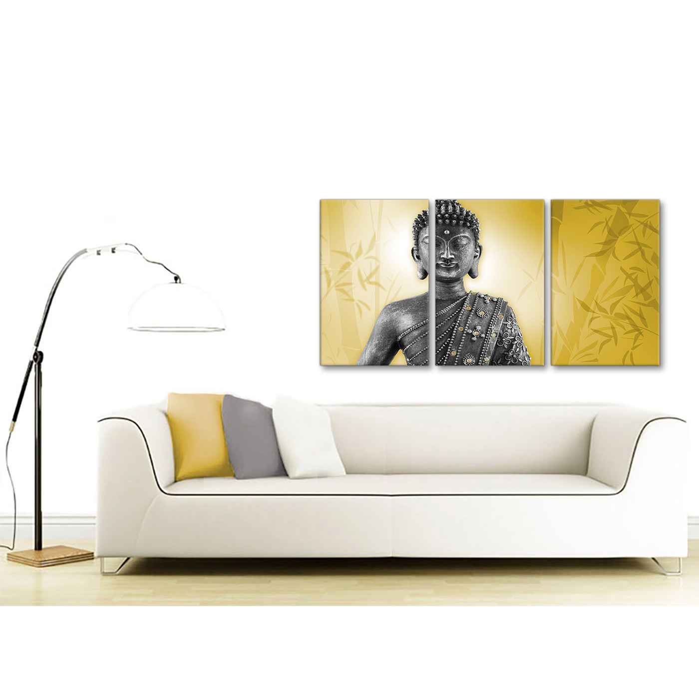 office canvas art. Display Gallery Item 3; Contemporary Mustard Yellow And Grey Silver Wall Art Print Of Buddha Canvas Multi 3 Panel 3328 4 Office