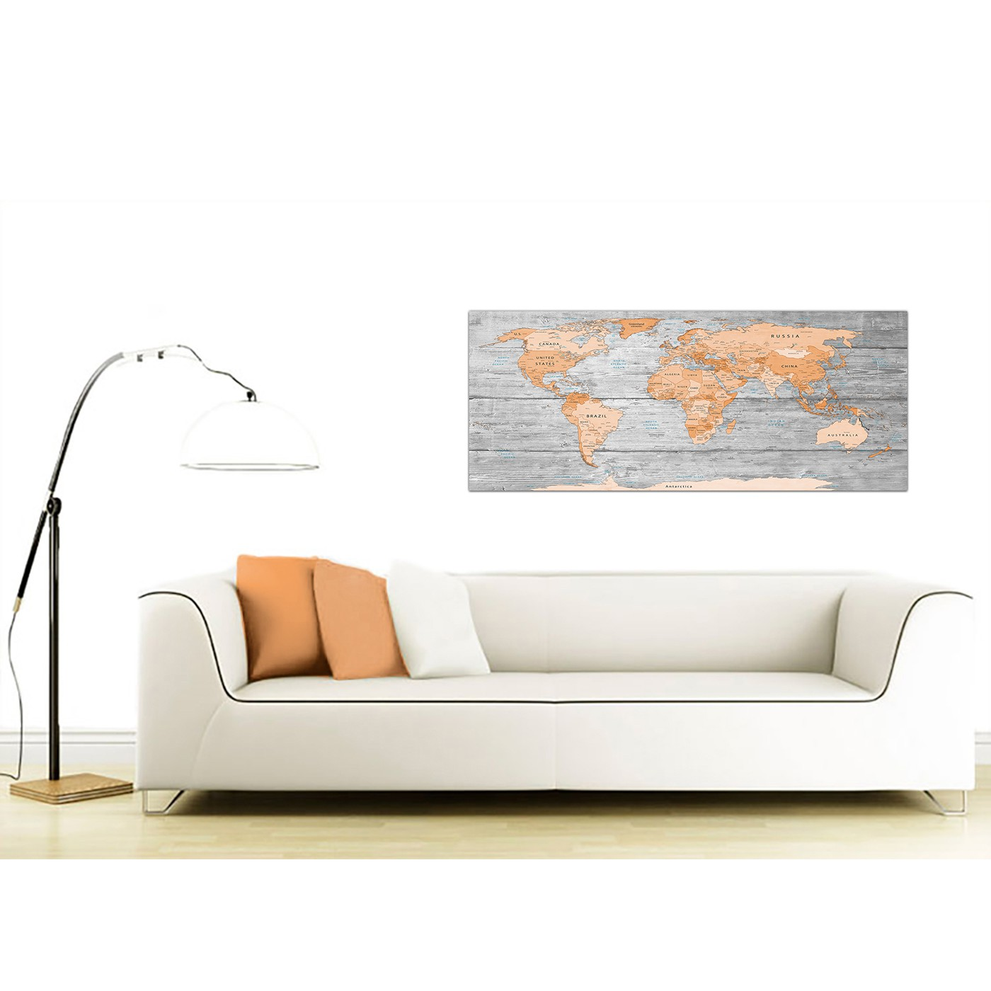 Large orange grey map of world atlas canvas wall art print modern display gallery item 3 contemporary orange cream large orange grey map of world atlas canvas wall art print maps canvas display gallery item 4 gumiabroncs Images