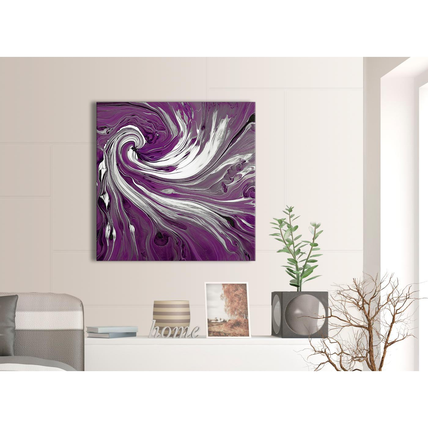 purple white swirls modern abstract canvas wall art 79cm square 1s353l. Black Bedroom Furniture Sets. Home Design Ideas