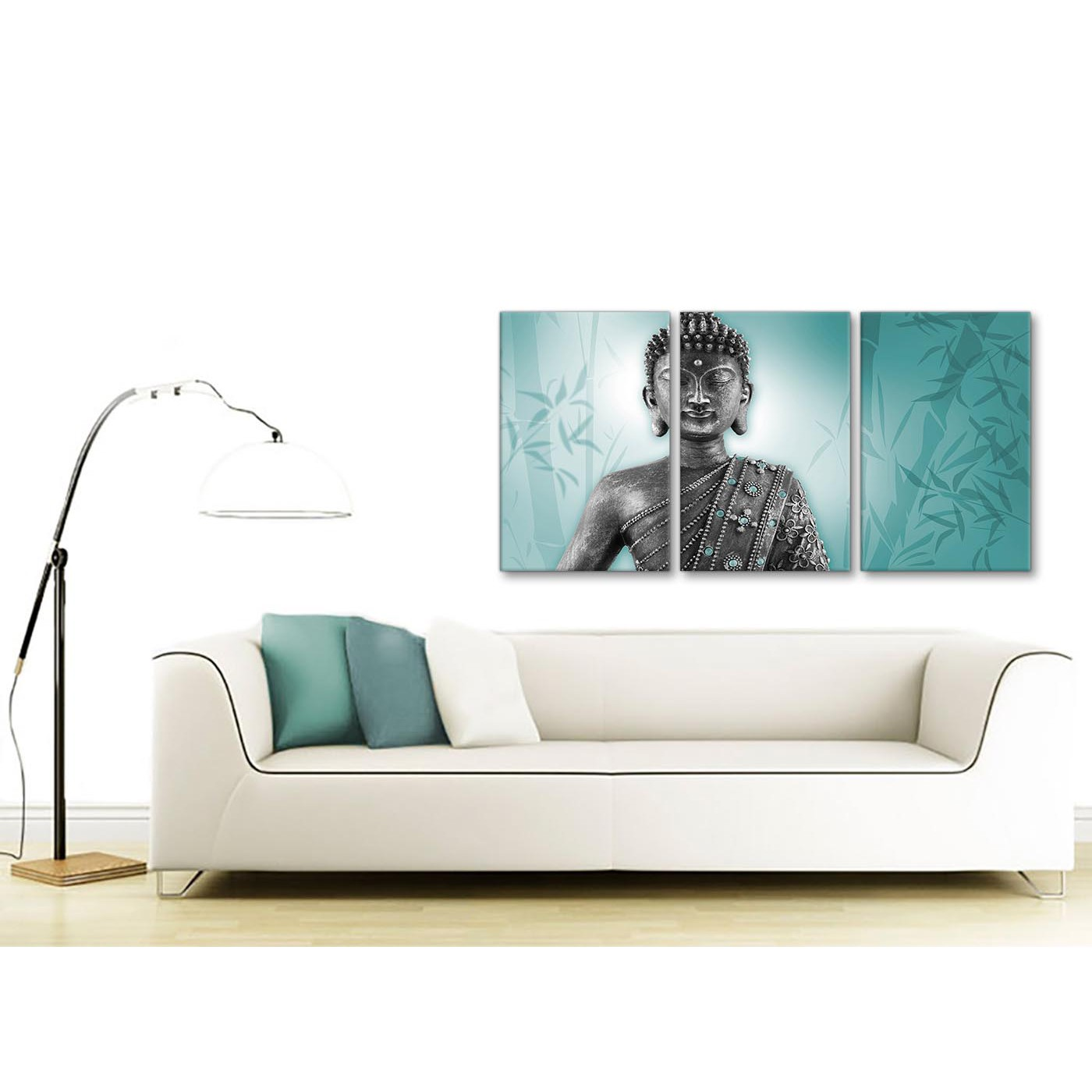 Teal and Grey Silver Canvas Art Prints of Buddha - Split Set of 3 - 3327