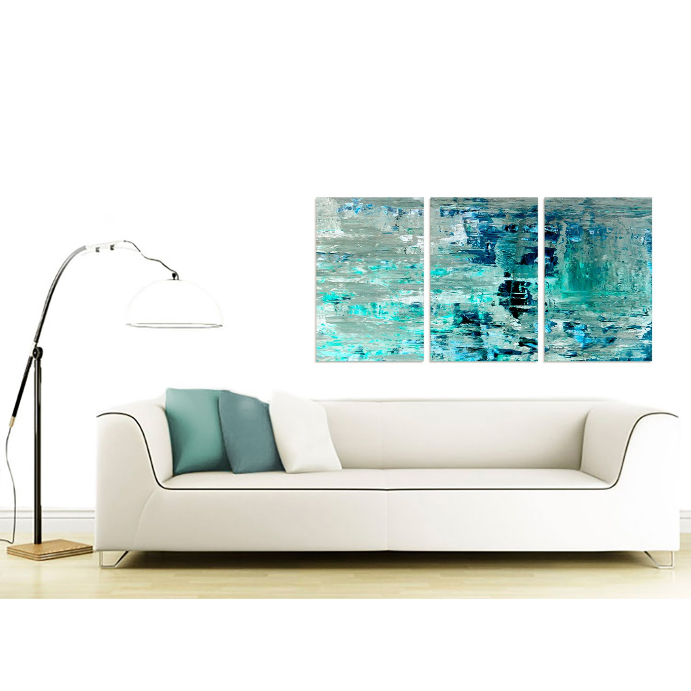Turquoise Teal Abstract Painting Wall Art Print Canvas - Multi 3 ...