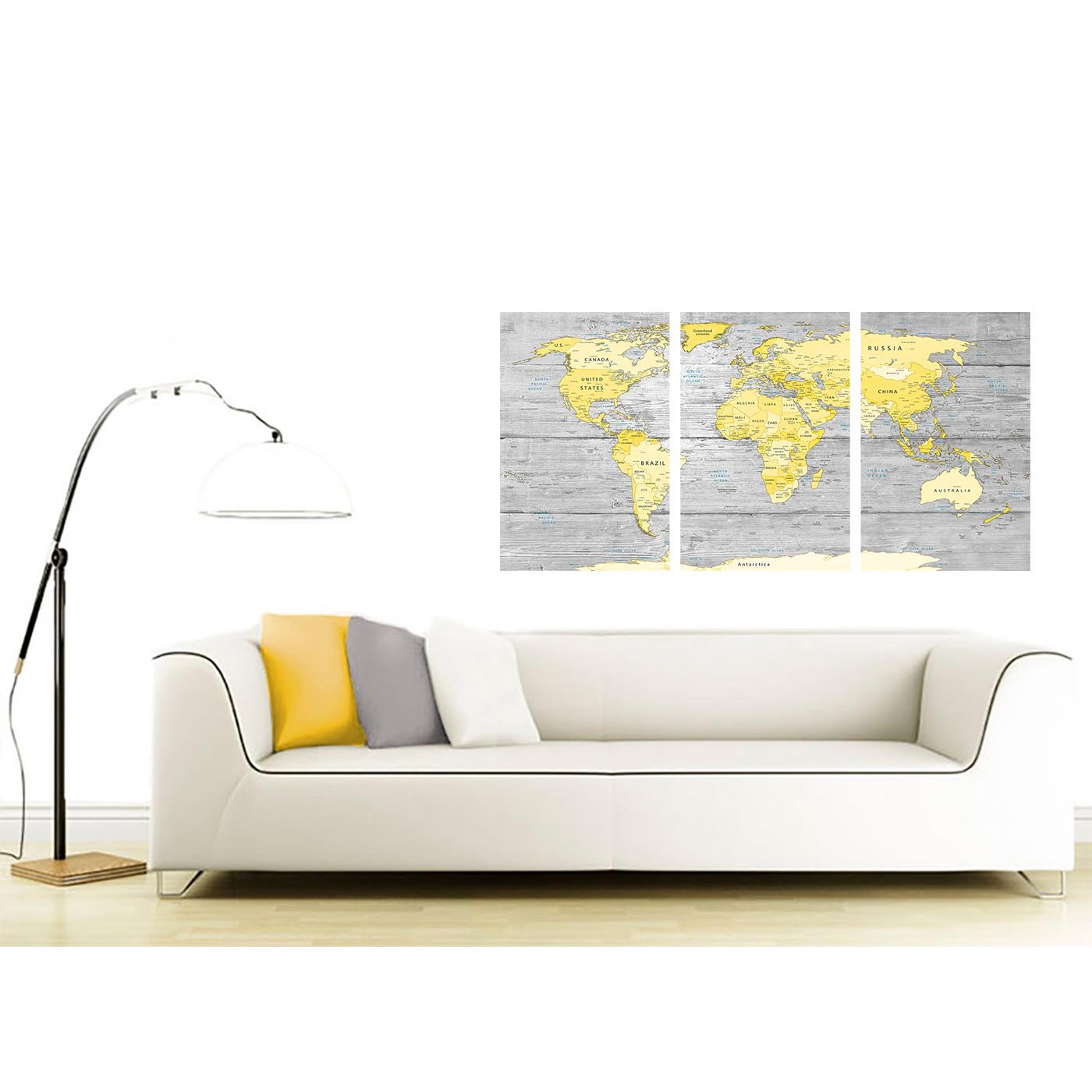 3 Panel Split Art World Map Canvas Print Triptych For: Large Yellow Grey Map Of World Atlas Canvas Wall Art Print