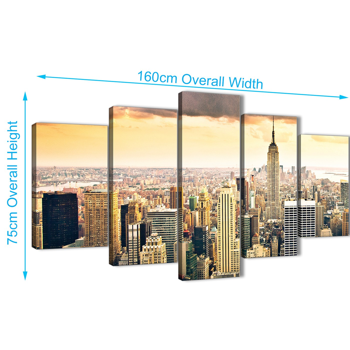 Designart New York City Skyline Panorama 5 Piece Wall: 5 Piece New York Manhattan Skyline Yellow Grey City